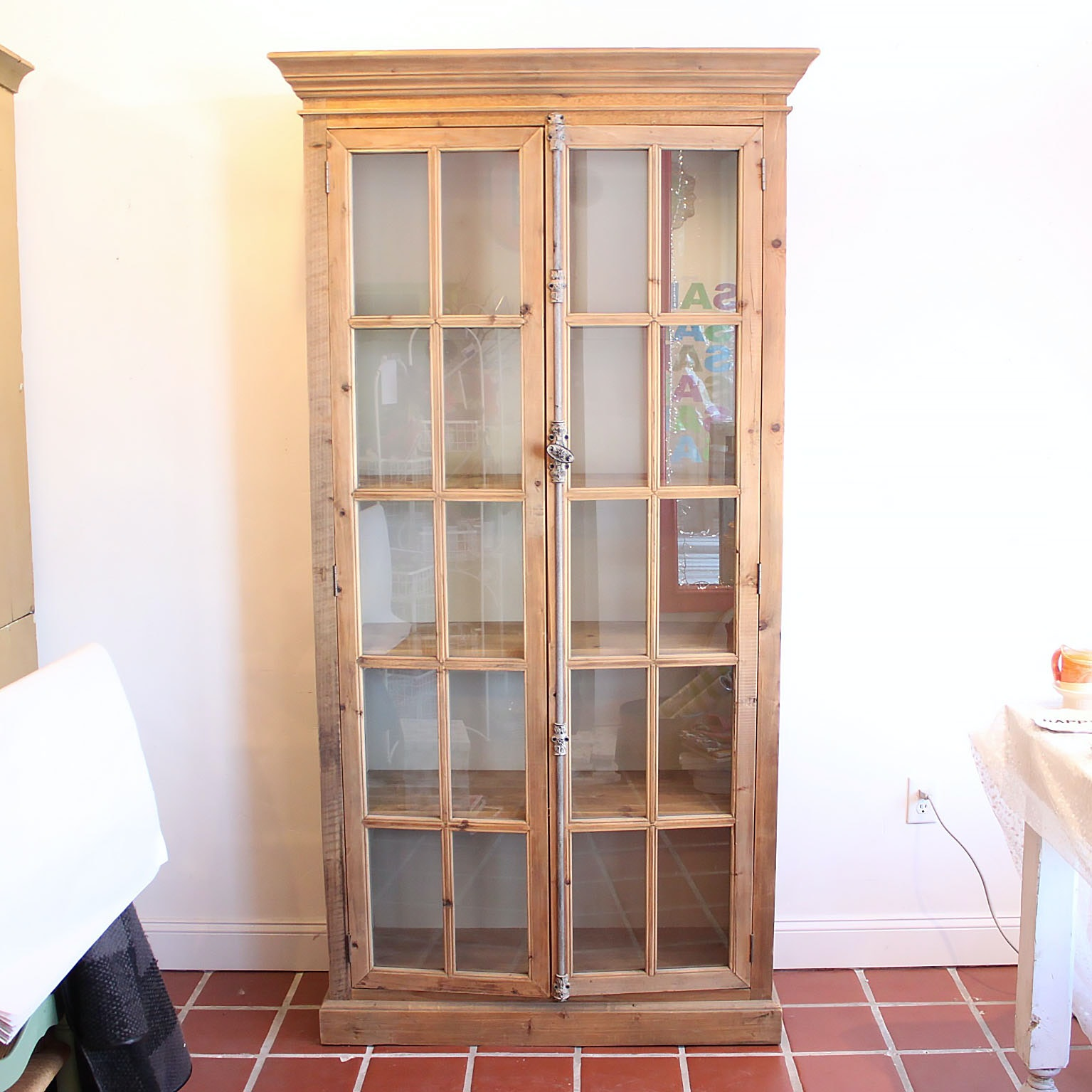 Pine Display Cabinet with Glass Paned Doors