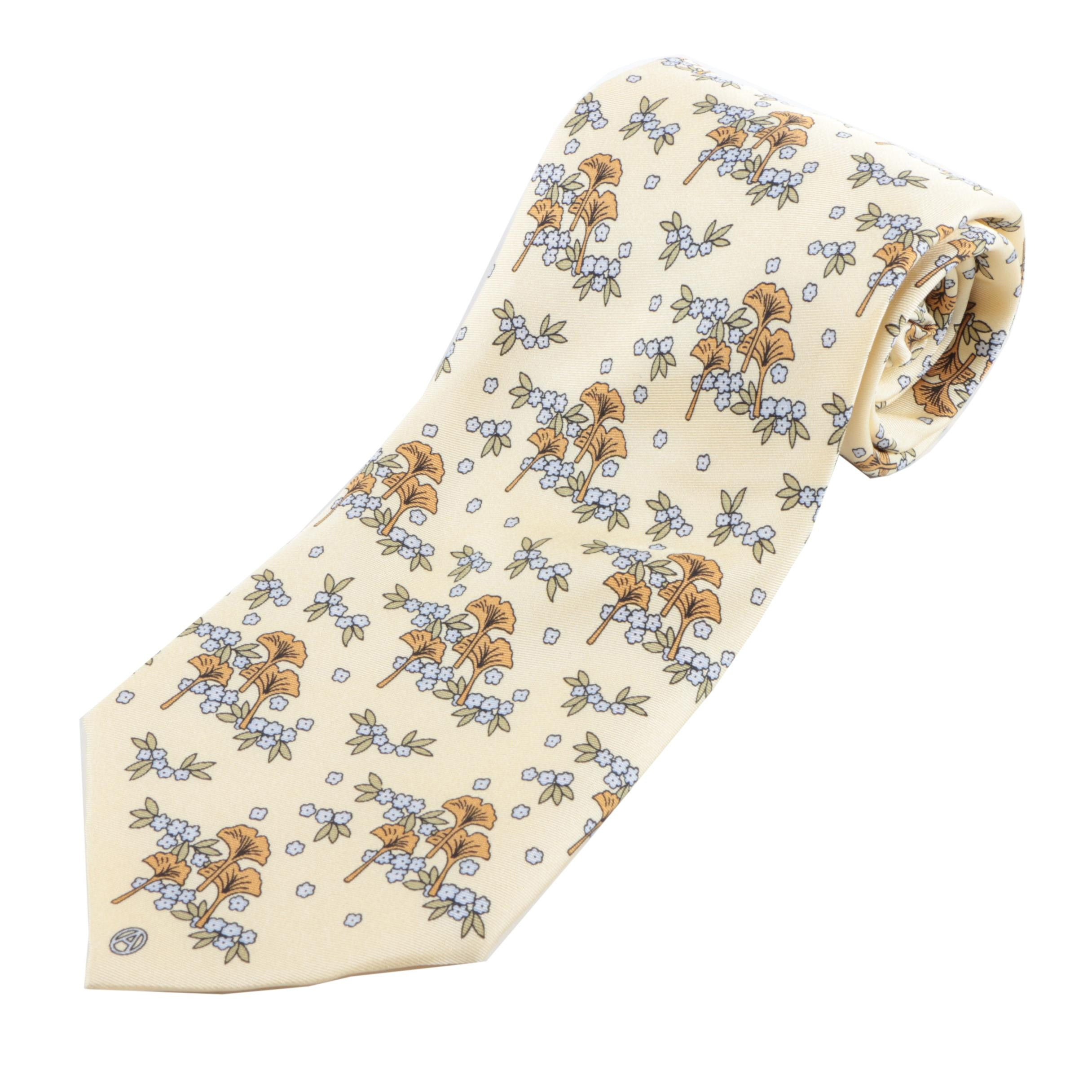 Men's Arnys Paris Handmade C/1424 Silk Necktie in Floral Print
