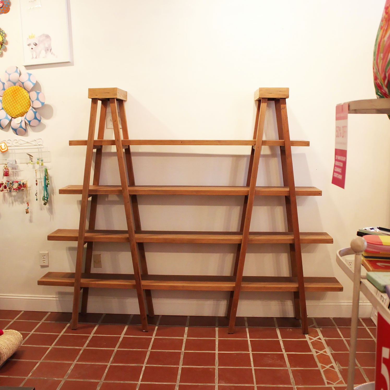 Contemporary Ladder Style Shelving Unit