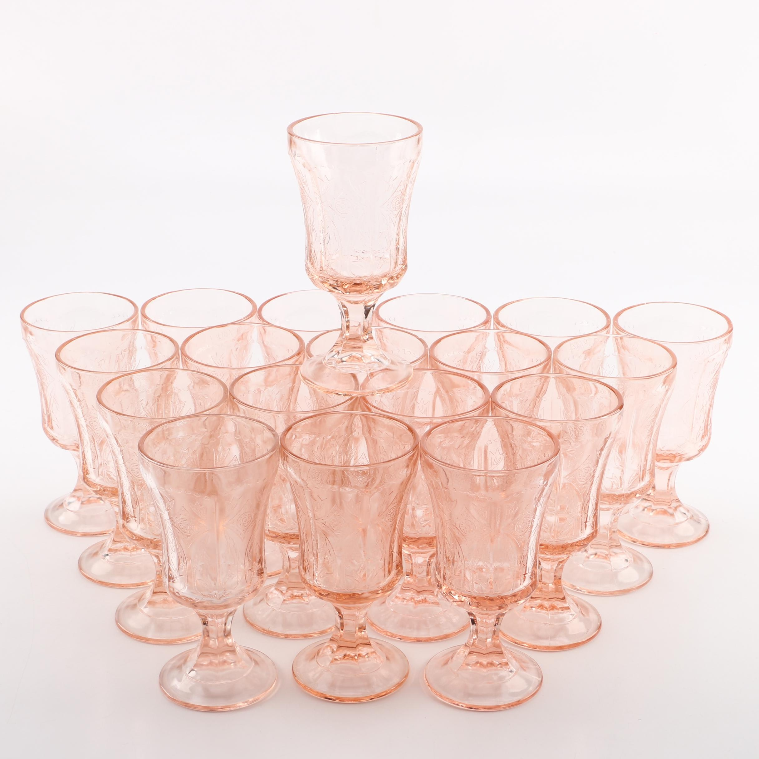 """Vintage Indiana Glass """"Recollections Pink"""" Depression Glass Goblets"""