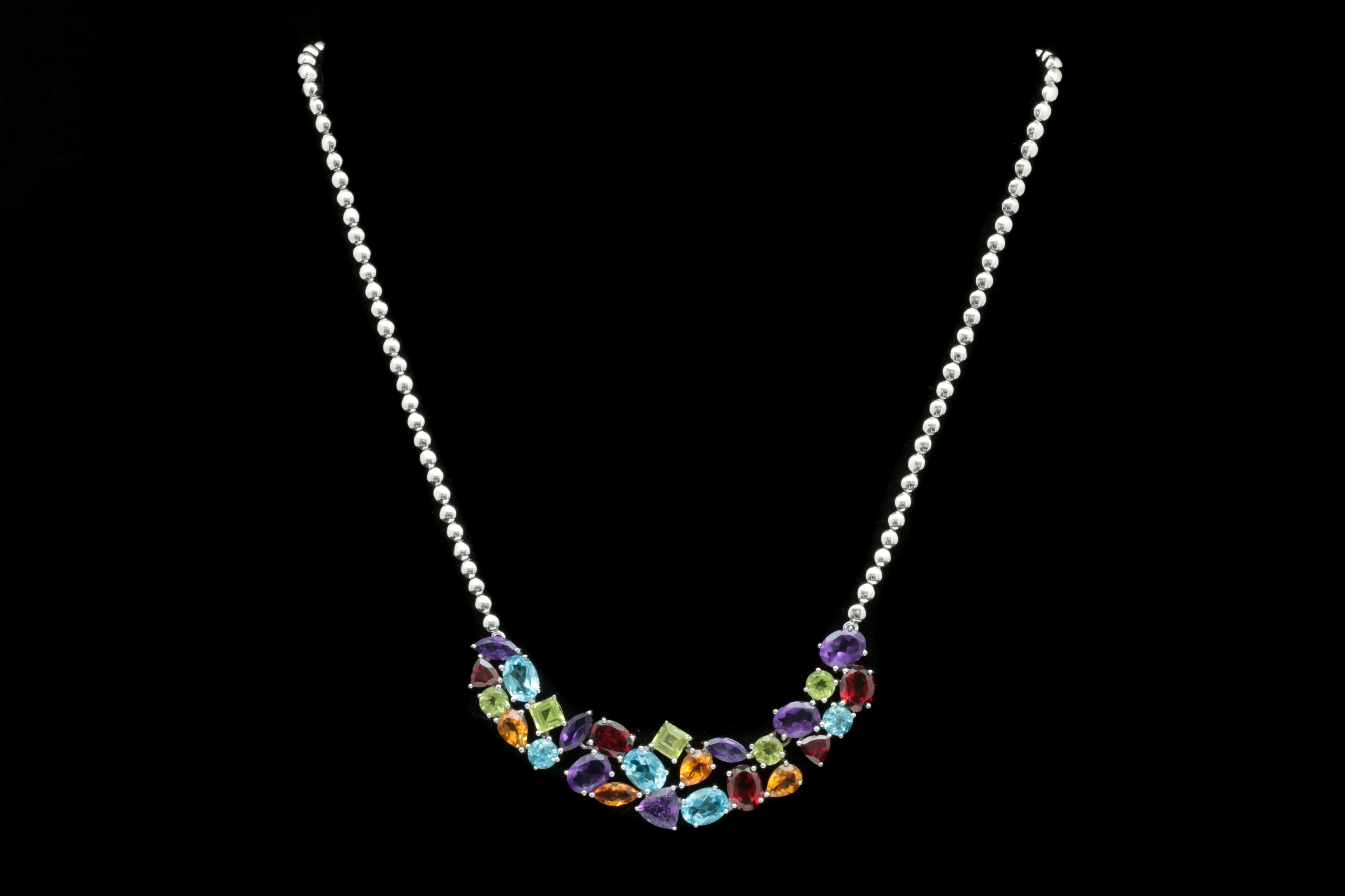 Robert Manse Sterling Silver and Multi-Gemstone Necklace