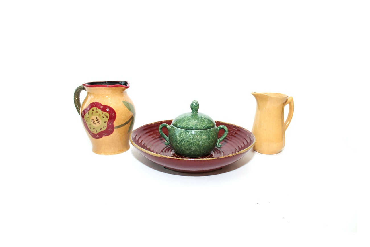 Ceramic Earth Toned Pottery including Deruta