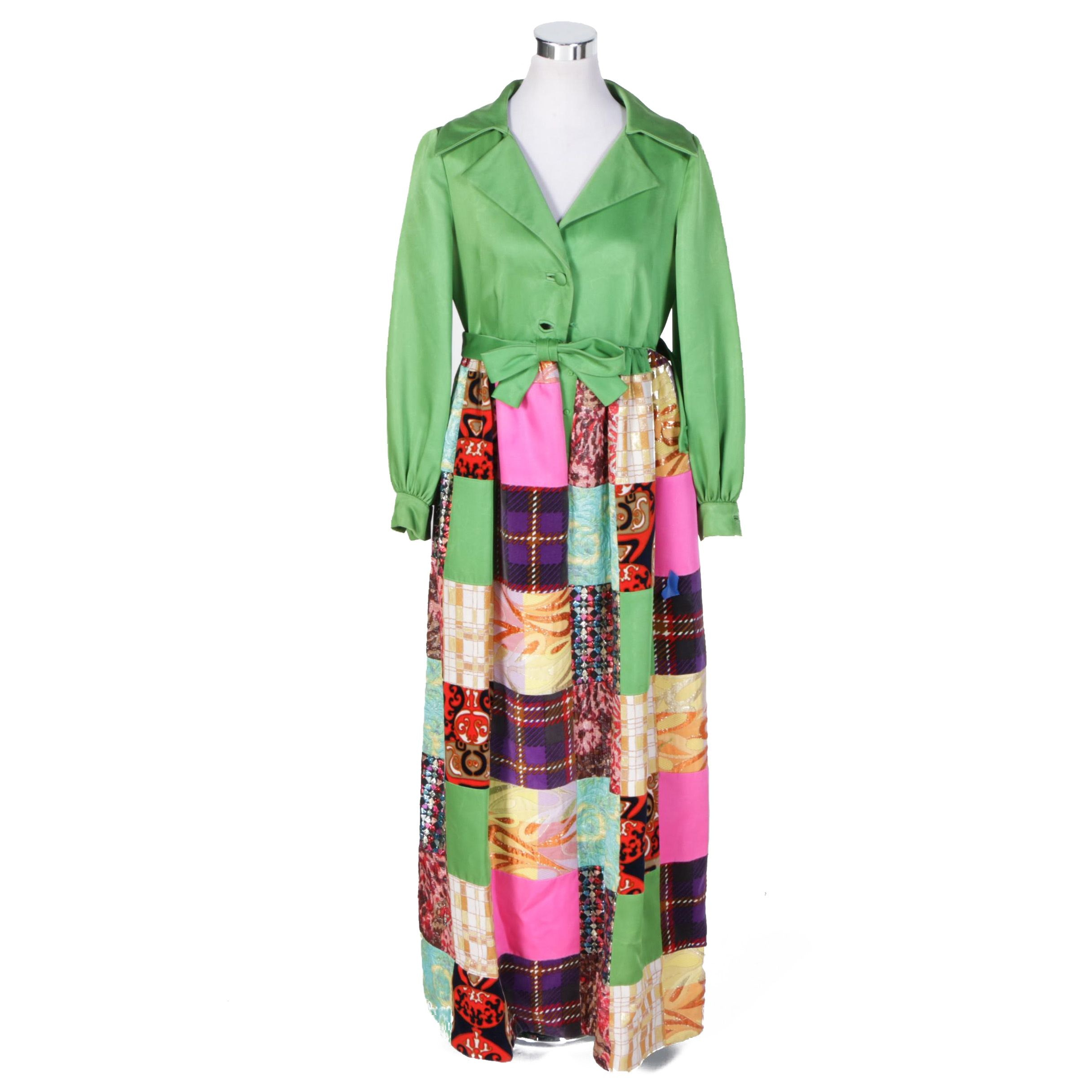 Circa 1970s Elinor Simmons for Malcolm Starr Patchwork Maxi Dress