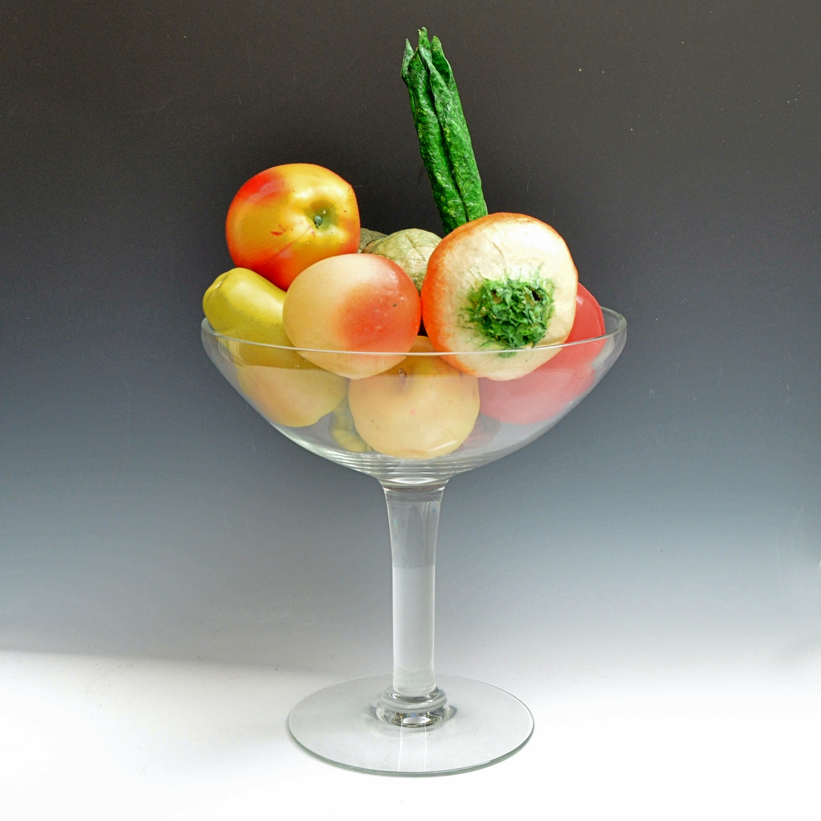 Modern Glass Compote with Paper Mache Fruit