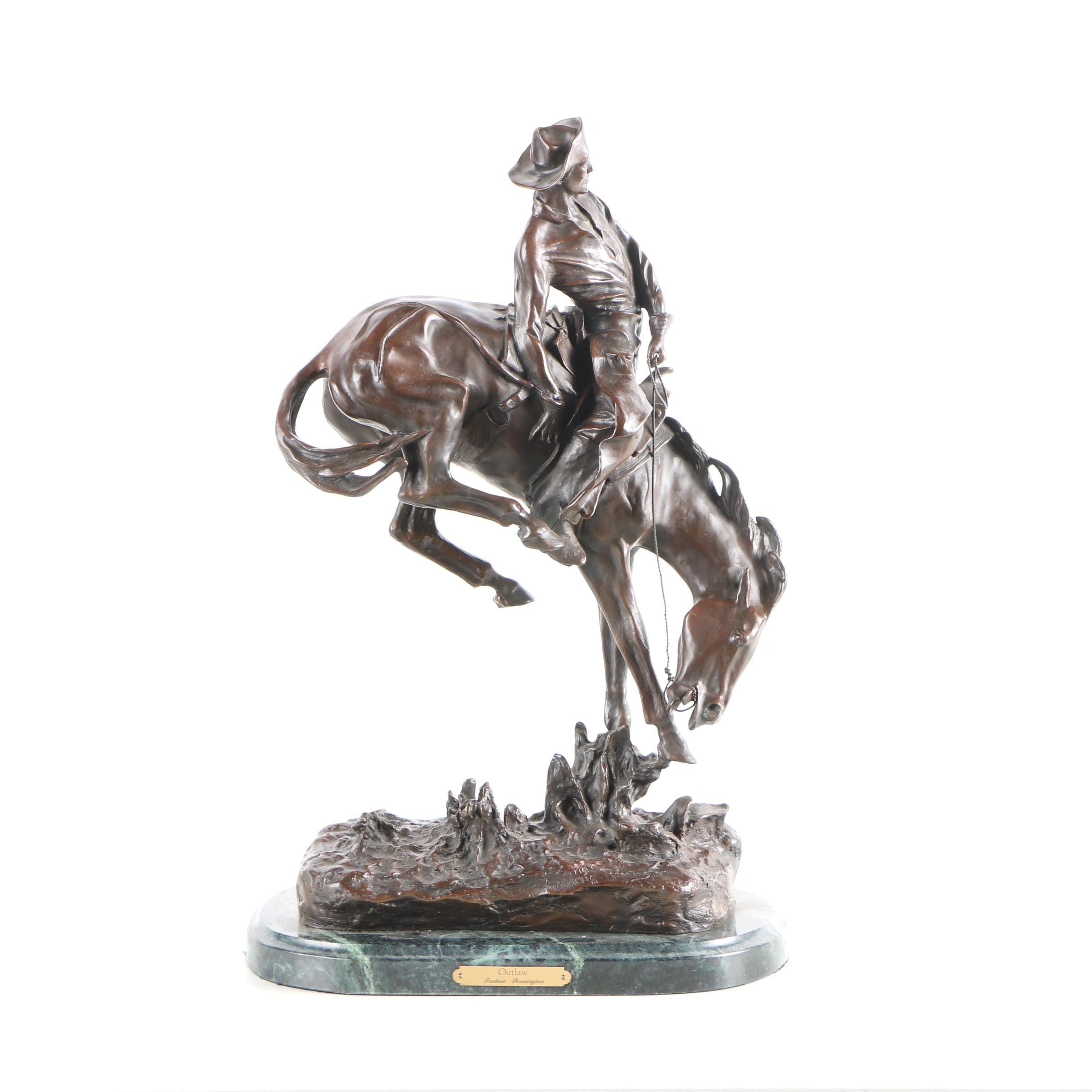 "Copper and Iron Alloy Sculpture After Frederic Remington ""Outlaw"""