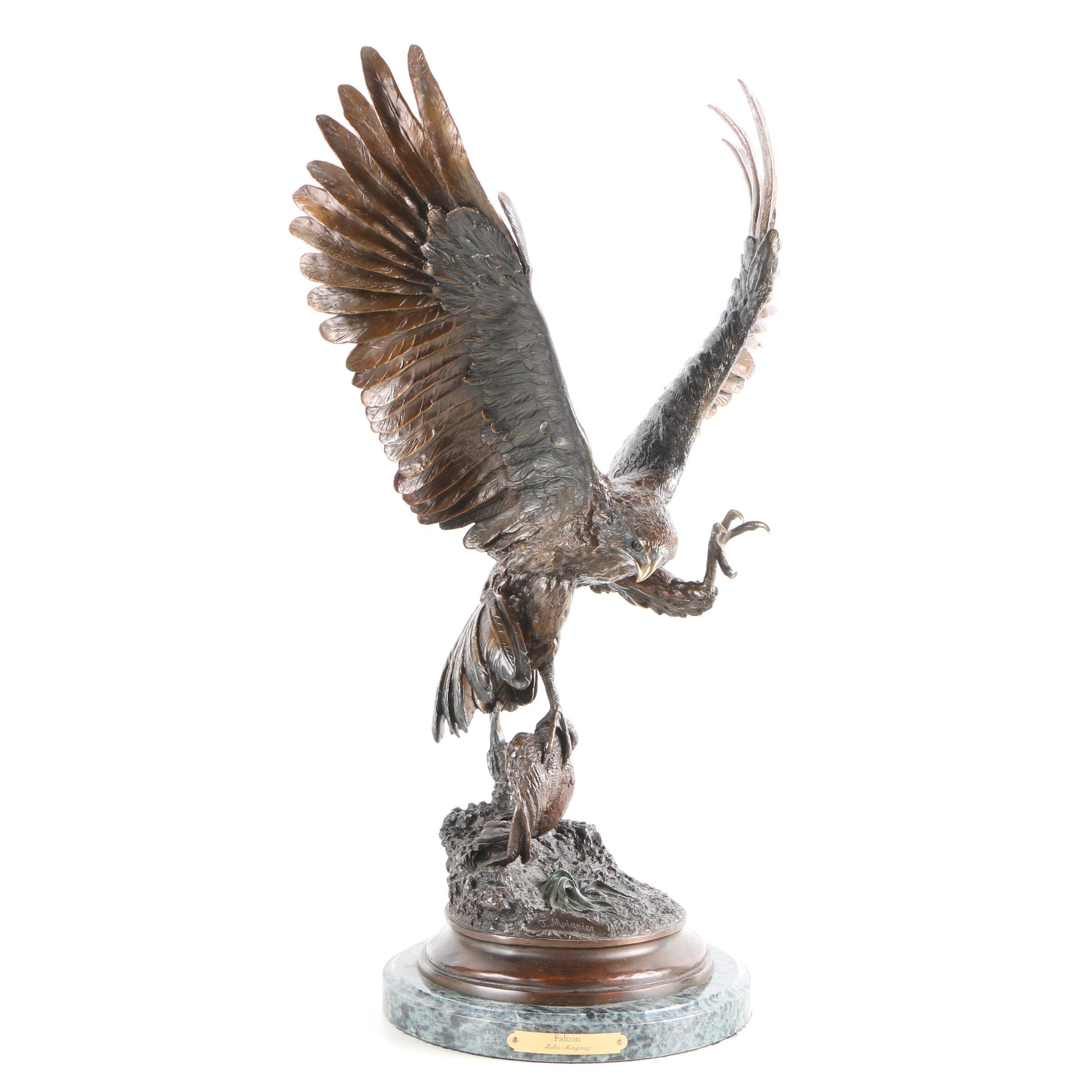 "Bronze Sculpture After Jules Moigniez ""Falcon"""