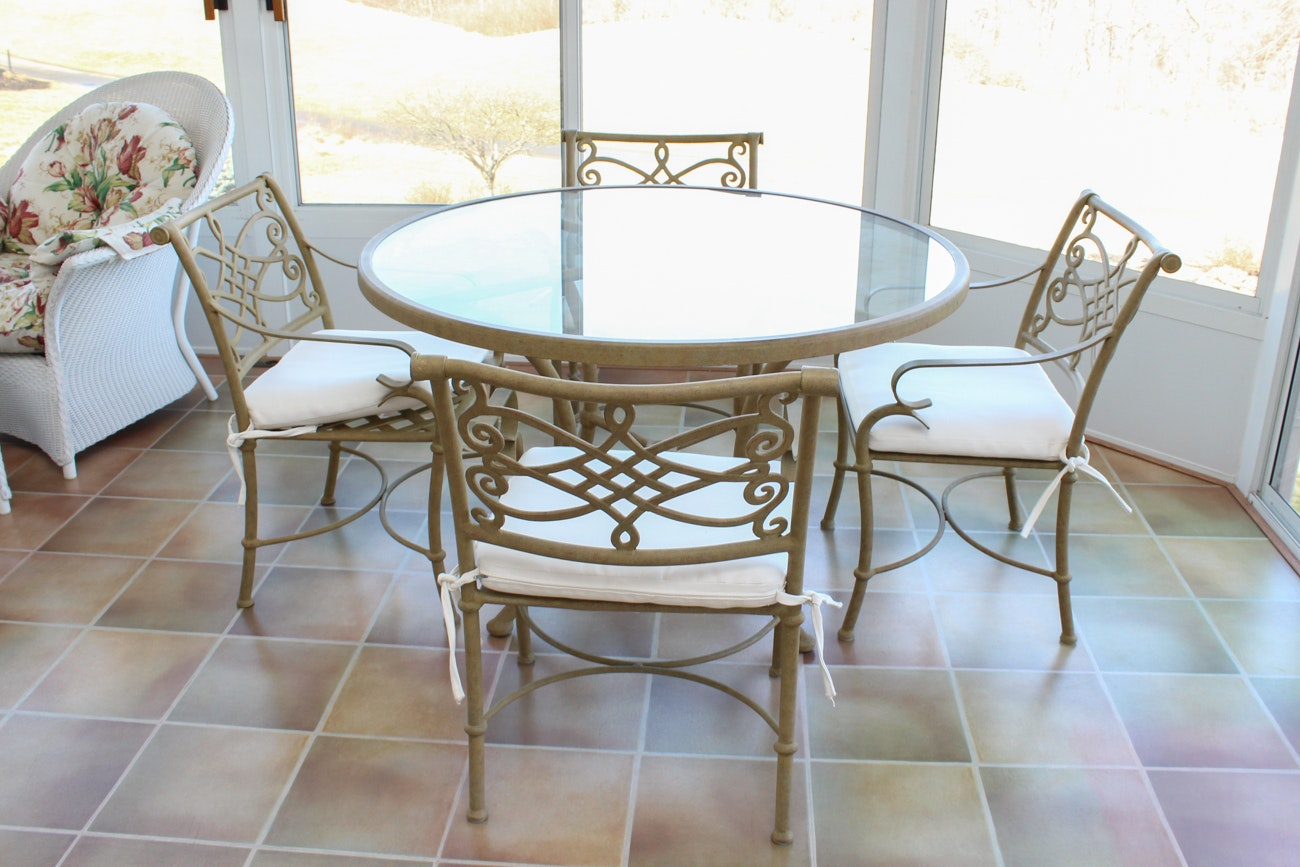 Iron and Glass Outdoor Dining Set