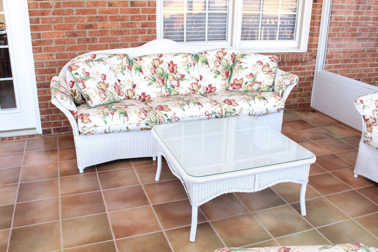 Outdoor Wicker Sofa and Coffee Table by Lloyd Flanders