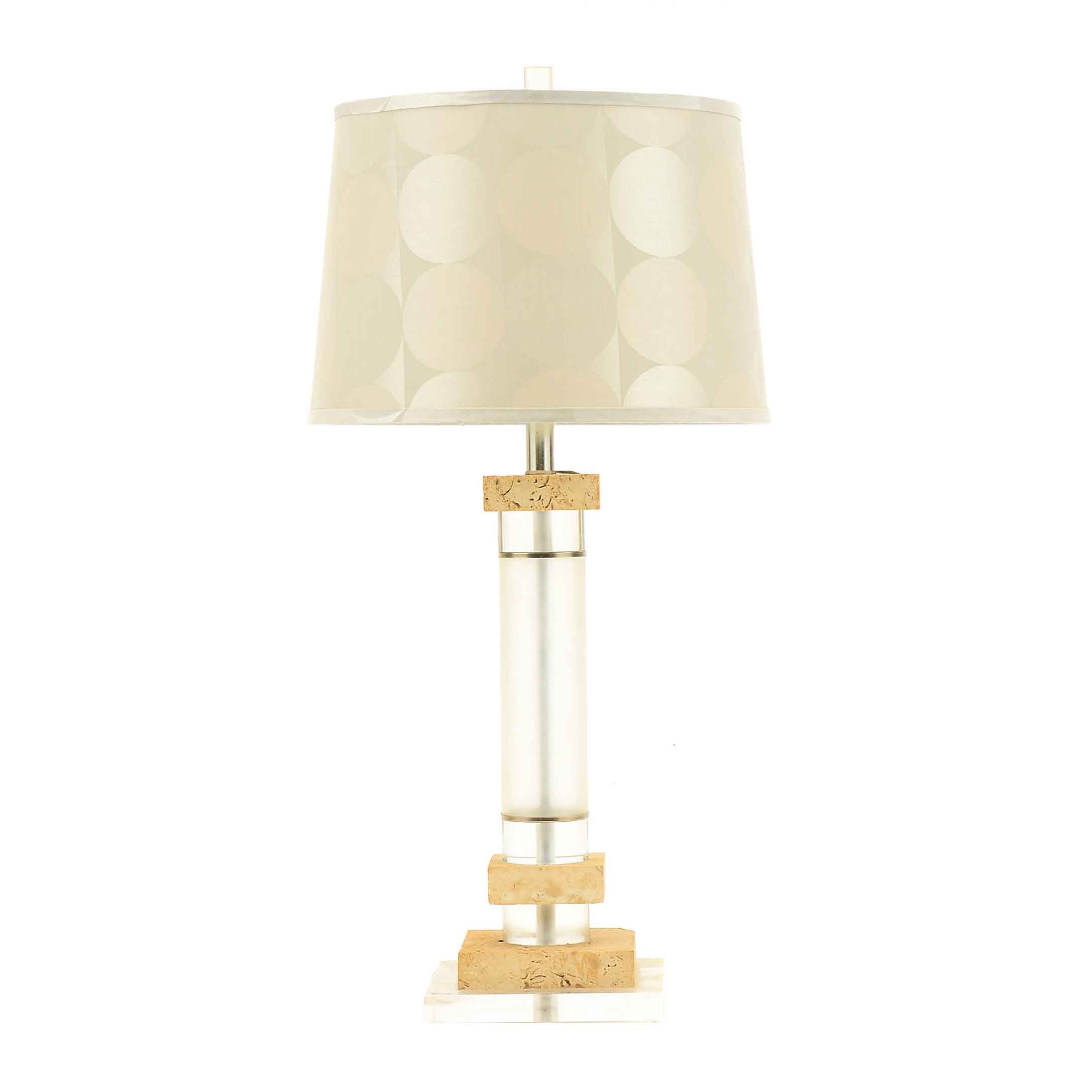 Mid Century Modern Acrylic and Travertine Table Lamp