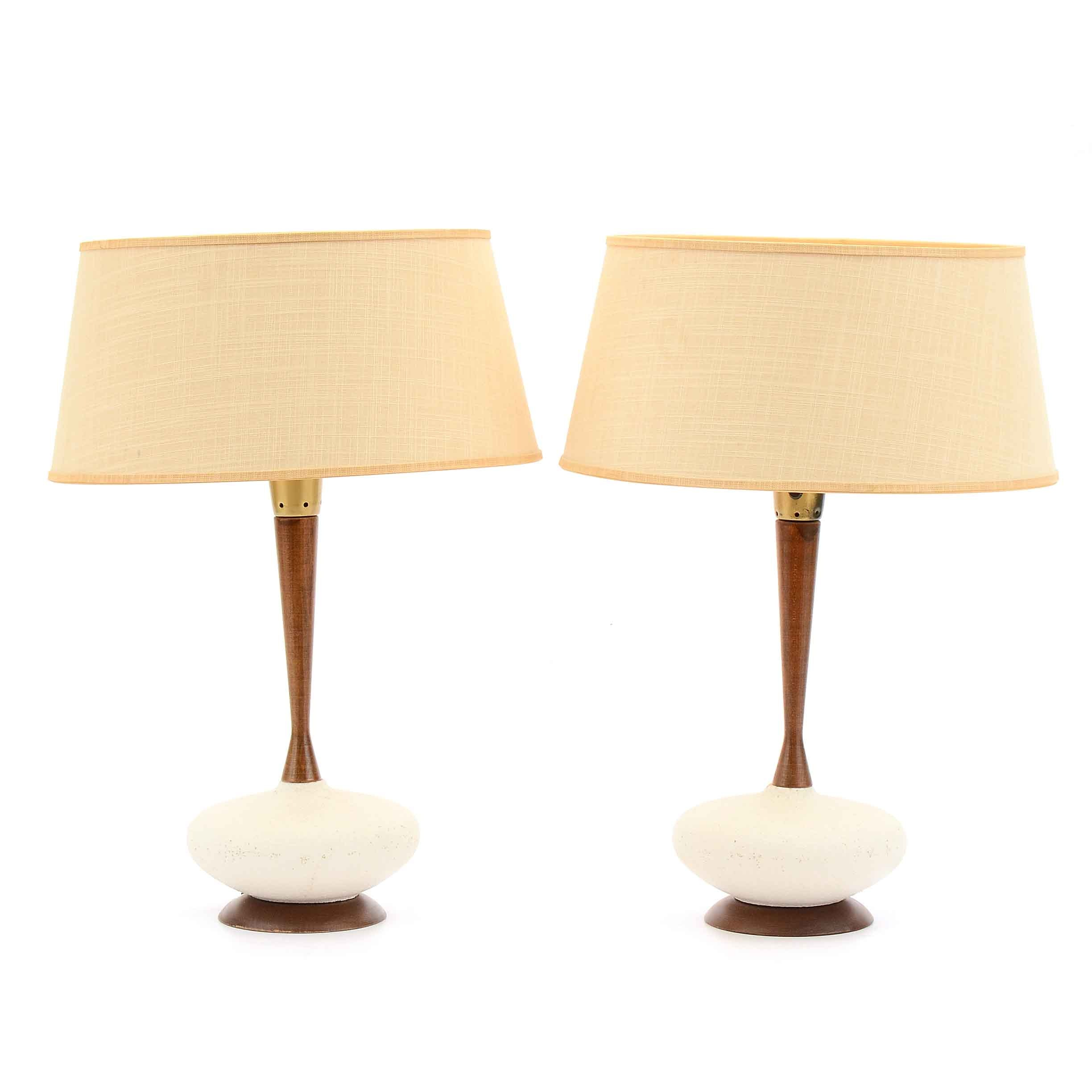 Mid Century Modern Wood and Ceramic Table Lamps
