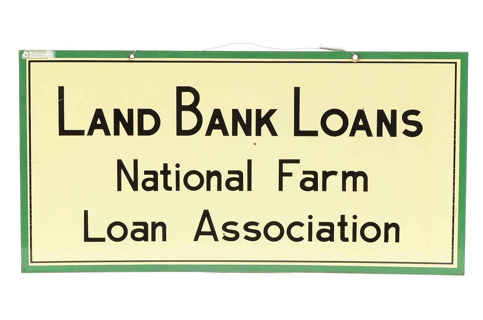 "1960s ""National Farm Loan"" Double Sided Porcelain Sign"