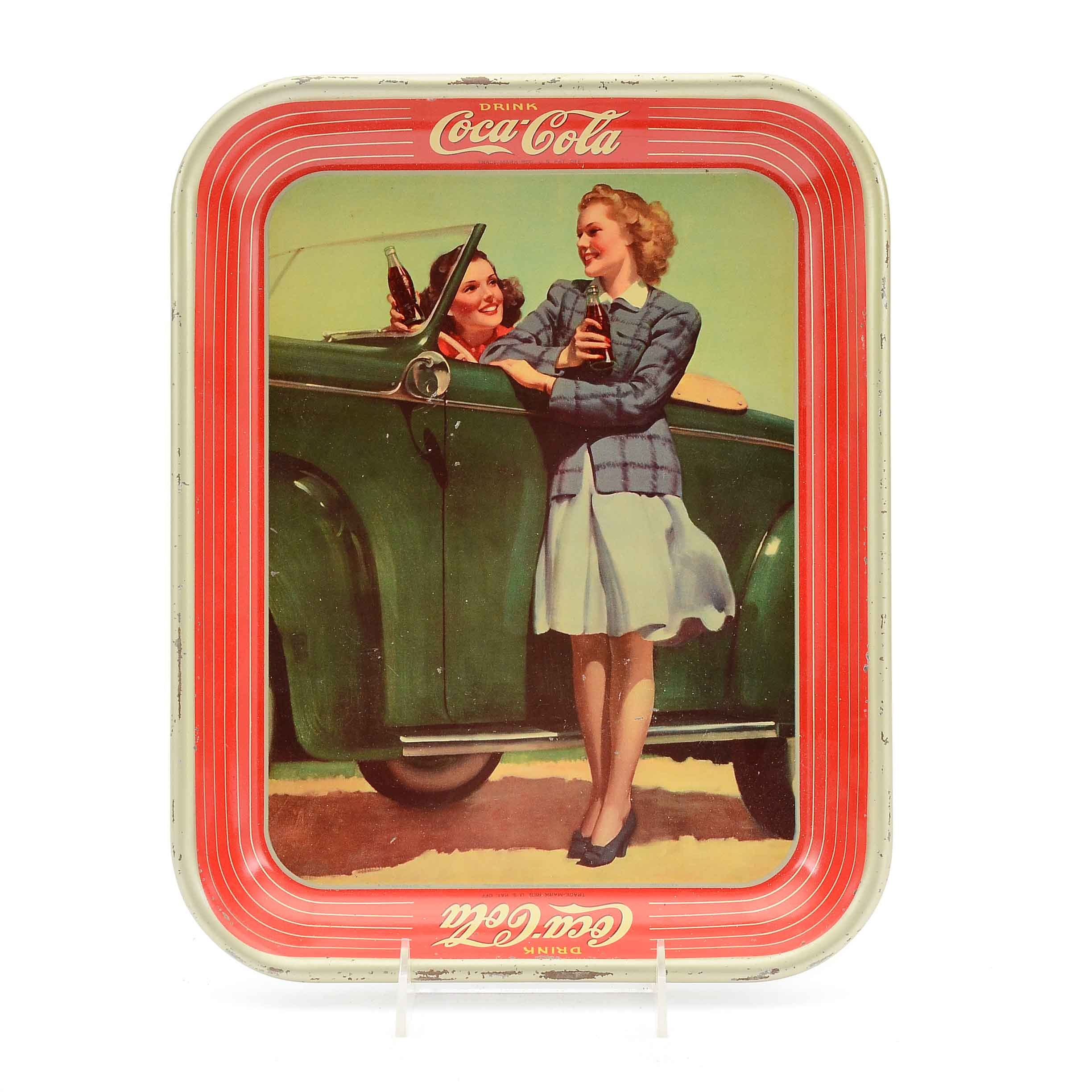 "1942 ""Drink Coca-Cola"" Lithographed Metal Serving Tray"