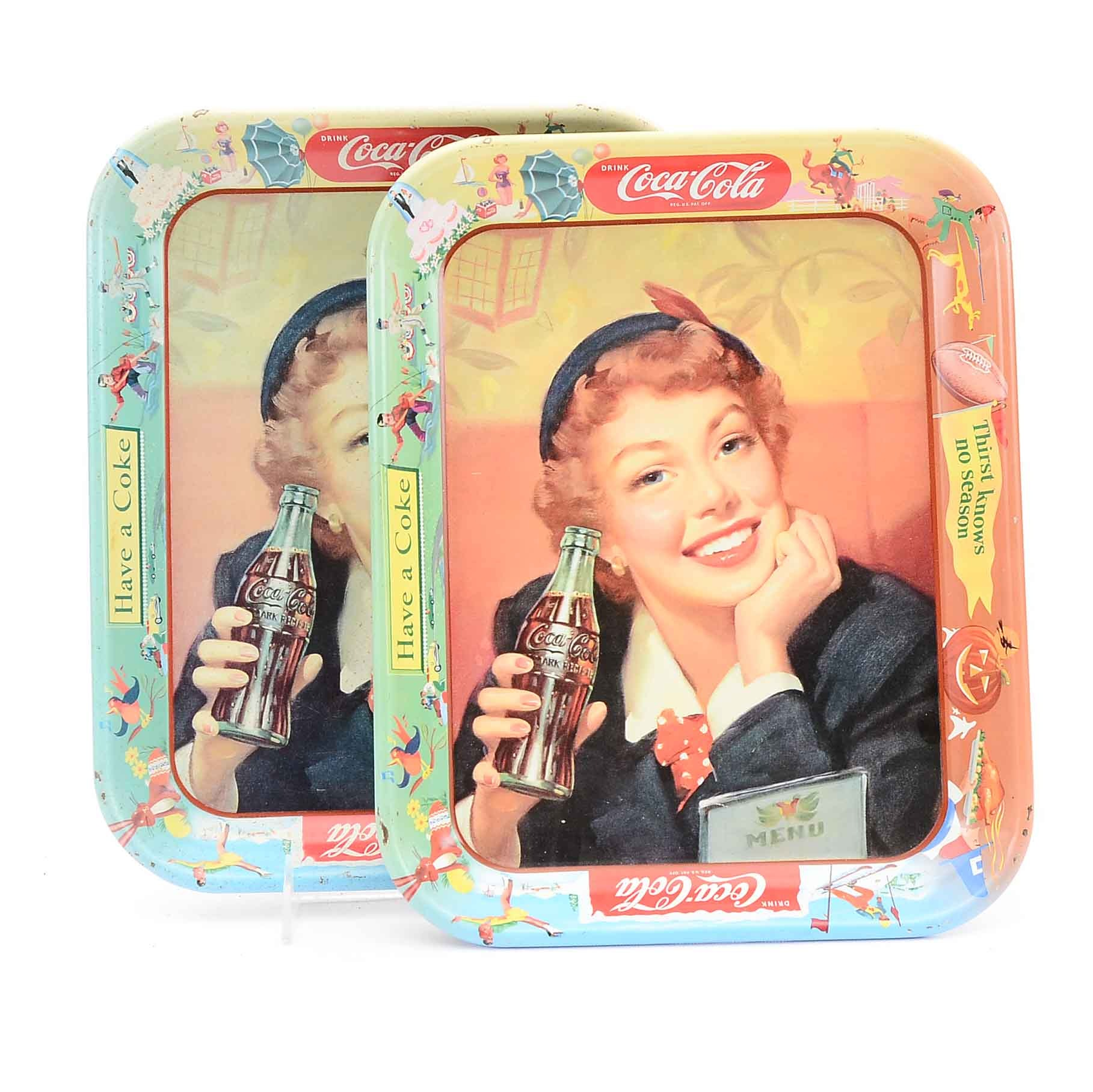 """Two 1950s """"Drink Coca-Cola"""" Metal Lithographed Beverage Trays"""