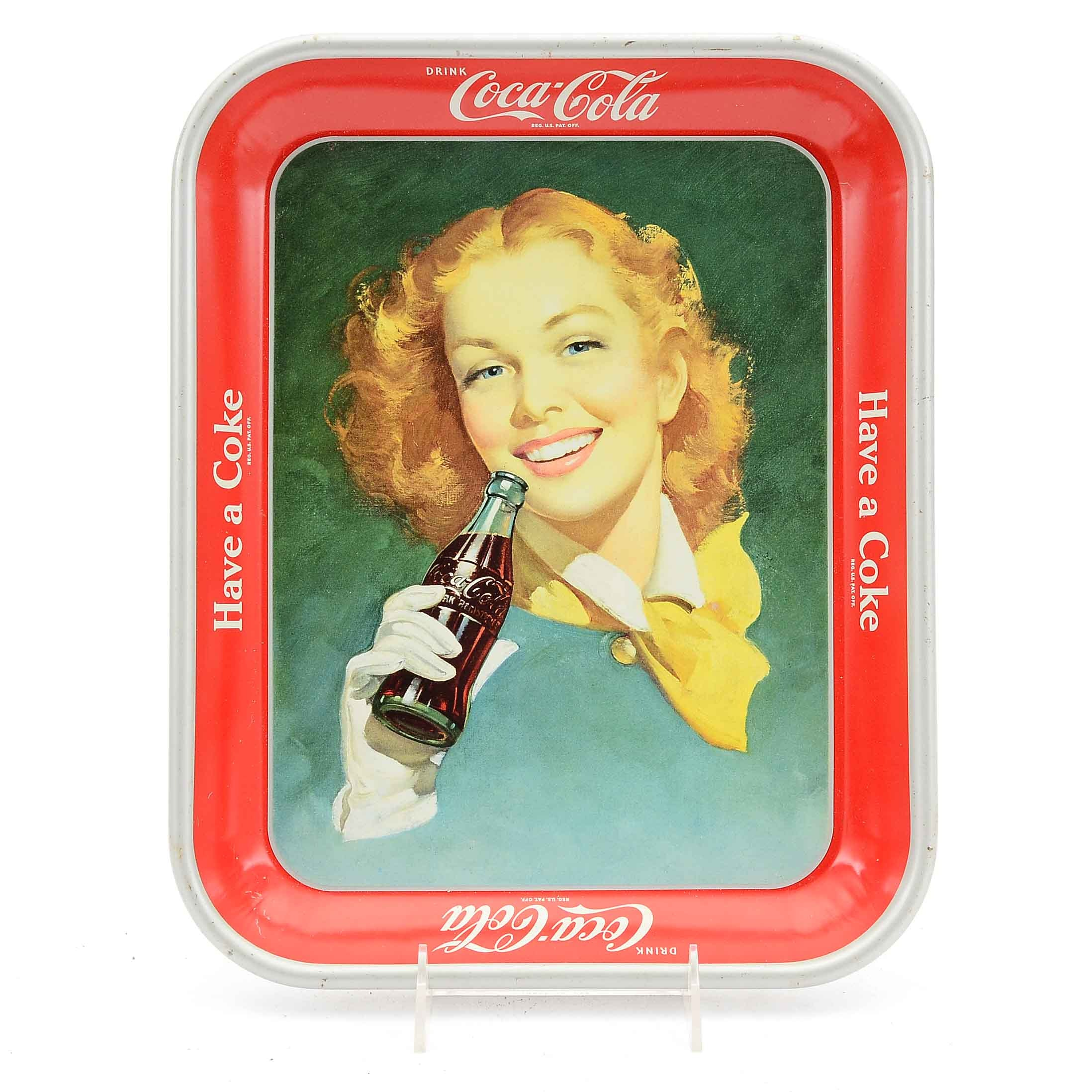 "Early 1950s ""Drink Coca-Cola"" Lithographed Metal Tray"