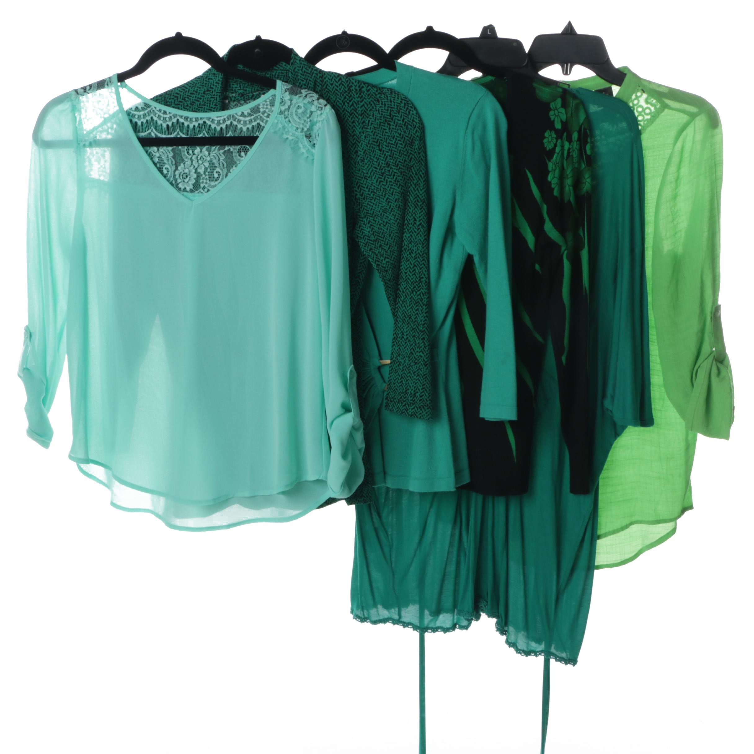 Women's Blue and Green Tone Tops Including BCBG Max Azria and Emma K