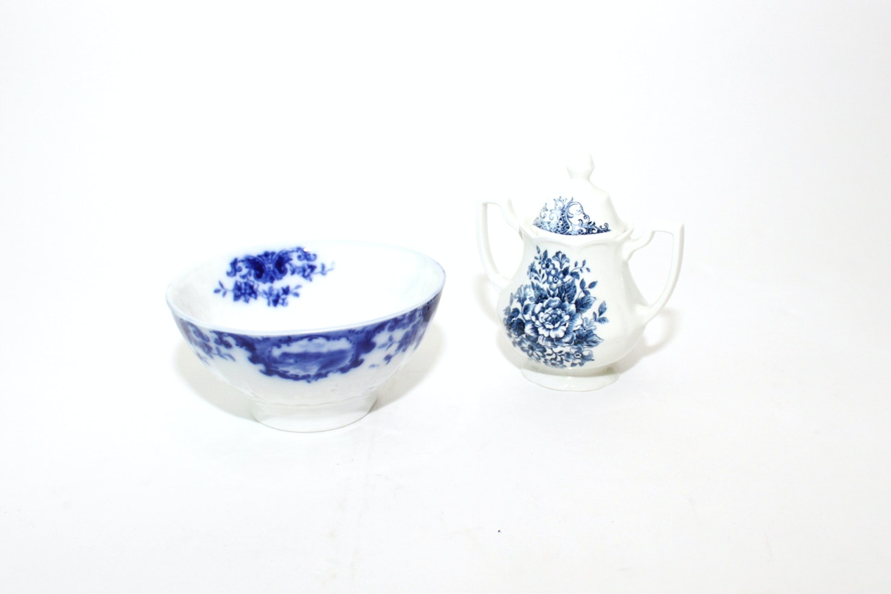 Royal Staffordshire and Hanley Flow Blue China