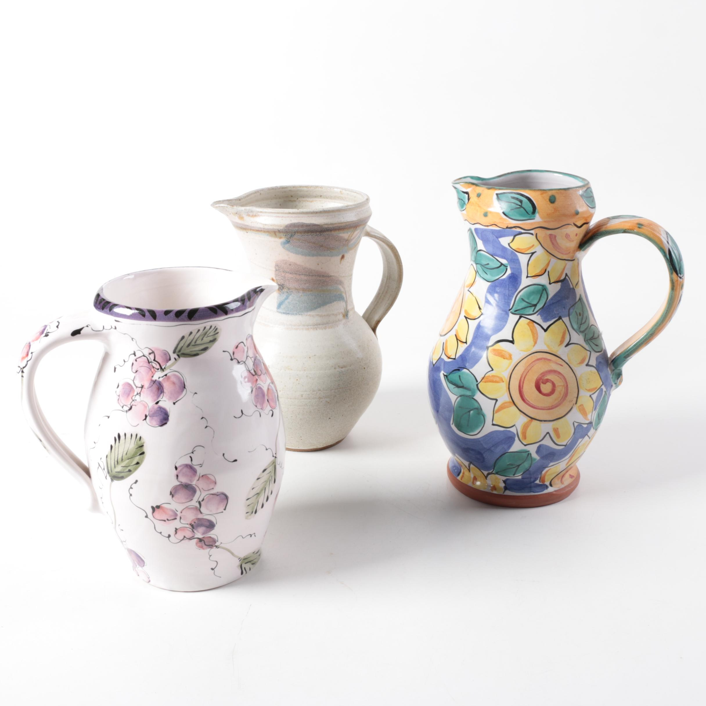 Hand Painted Ceramic Pitchers