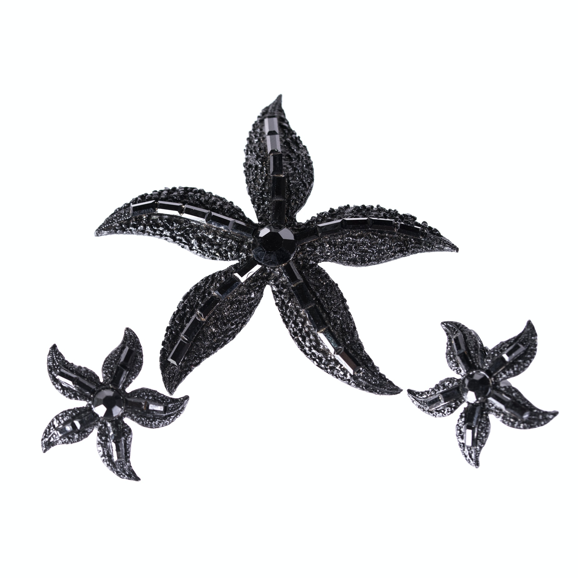 Opaque Black Rhinestone Star Brooch and Earrings by Weiss