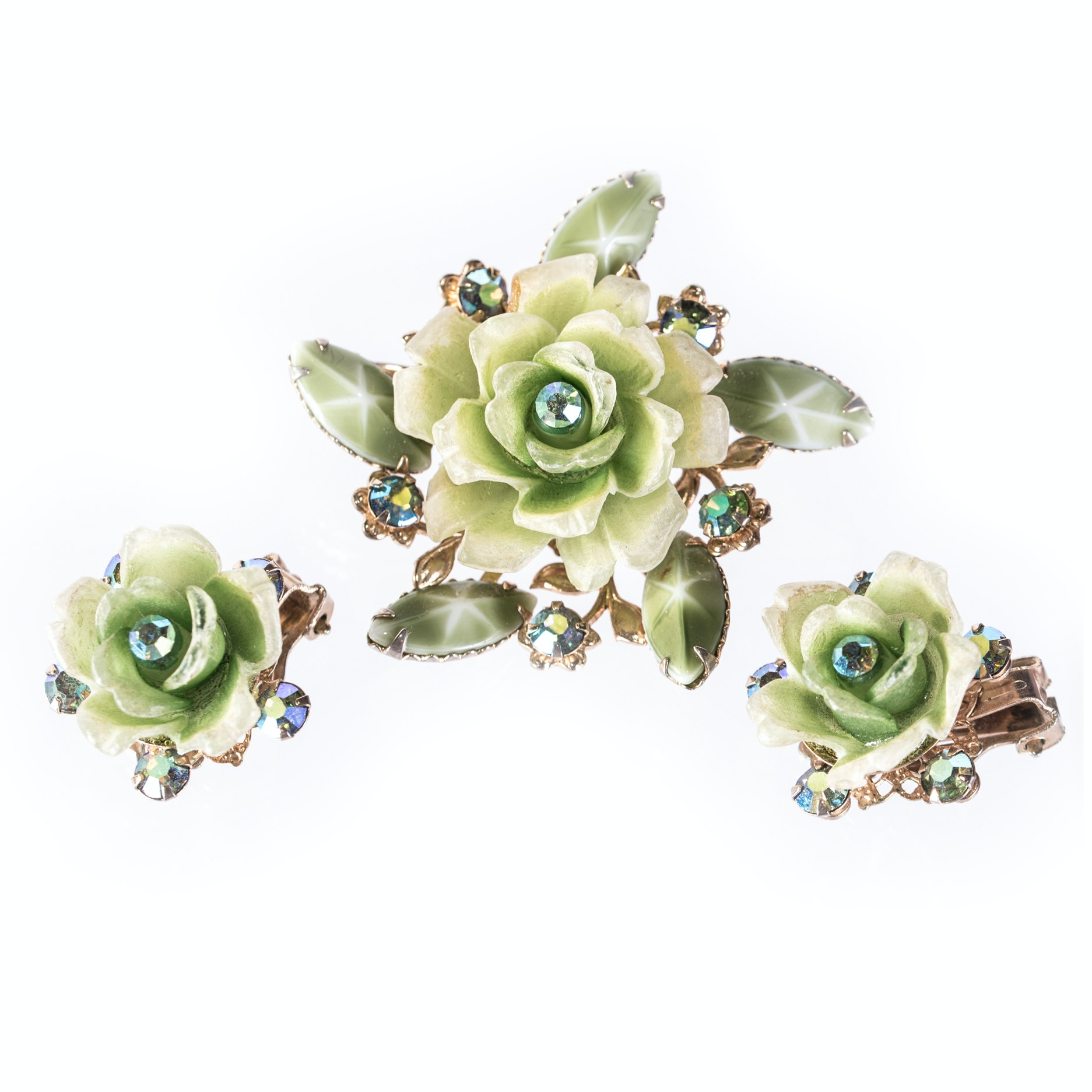 Rose Brooch and Earring Demi Parure by Cathé
