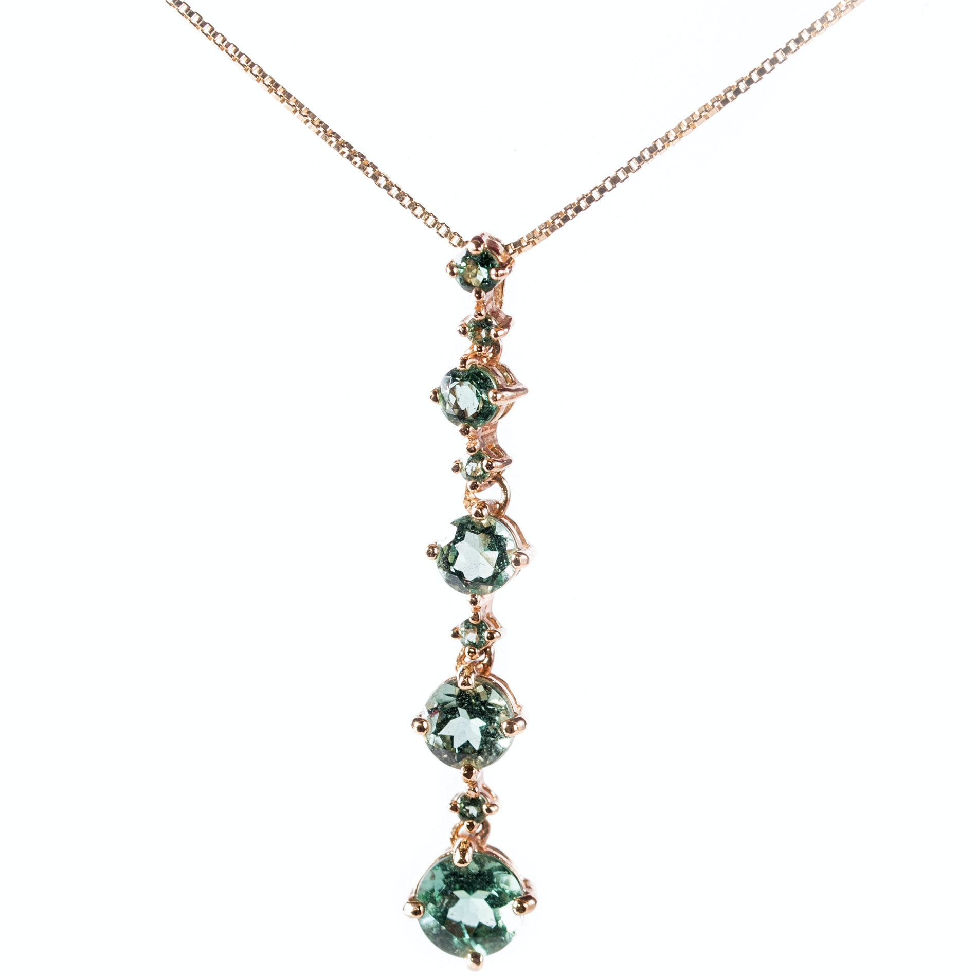 Sterling Silver Synthetic Green Quartz Necklace with Gold Wash