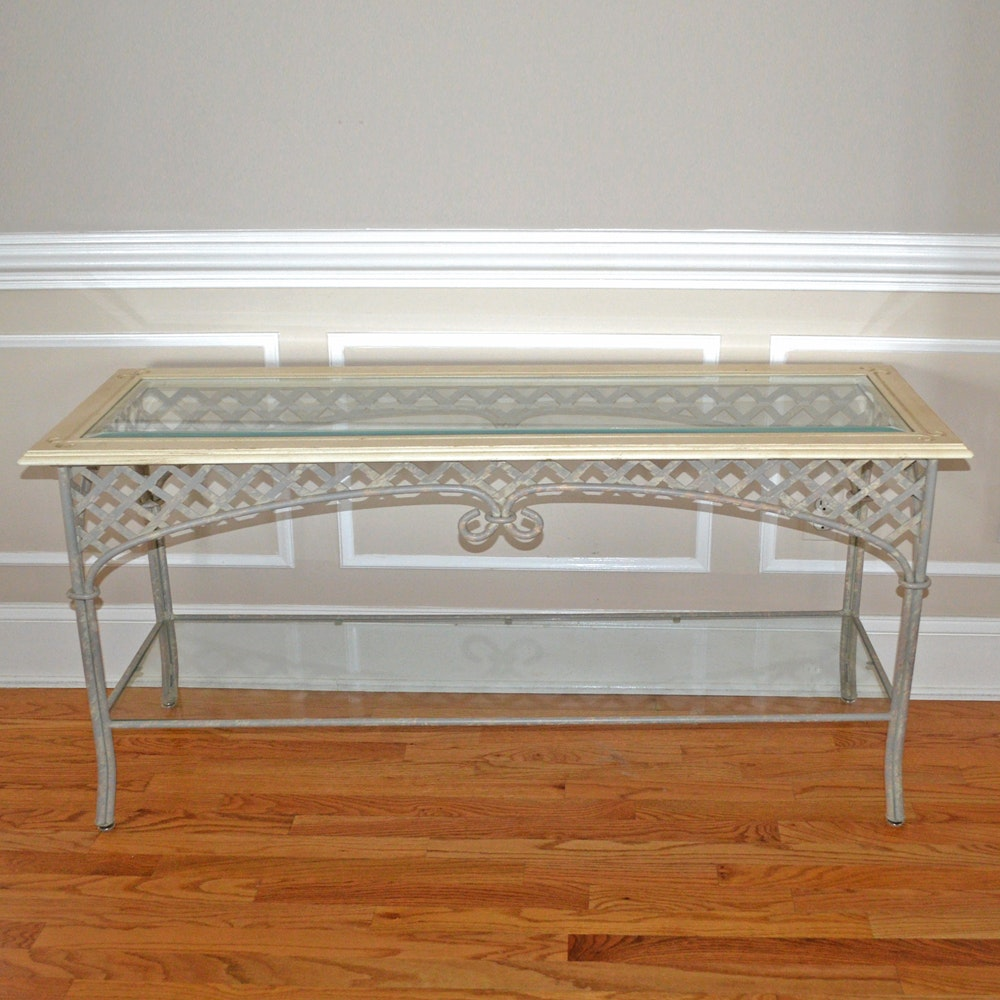 Reticulated Metal Sofa Table with Glass Top