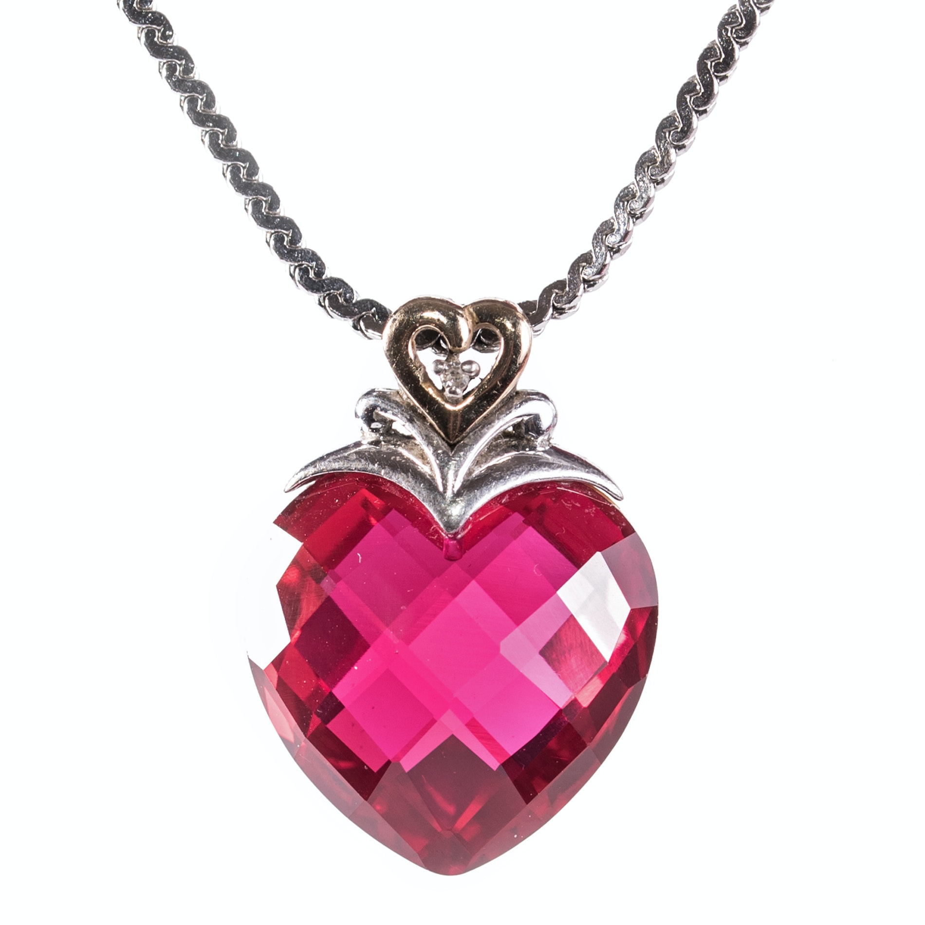 Alwand Vahan Sterling Silver Diamond and Synthetic Ruby Heart  Necklace