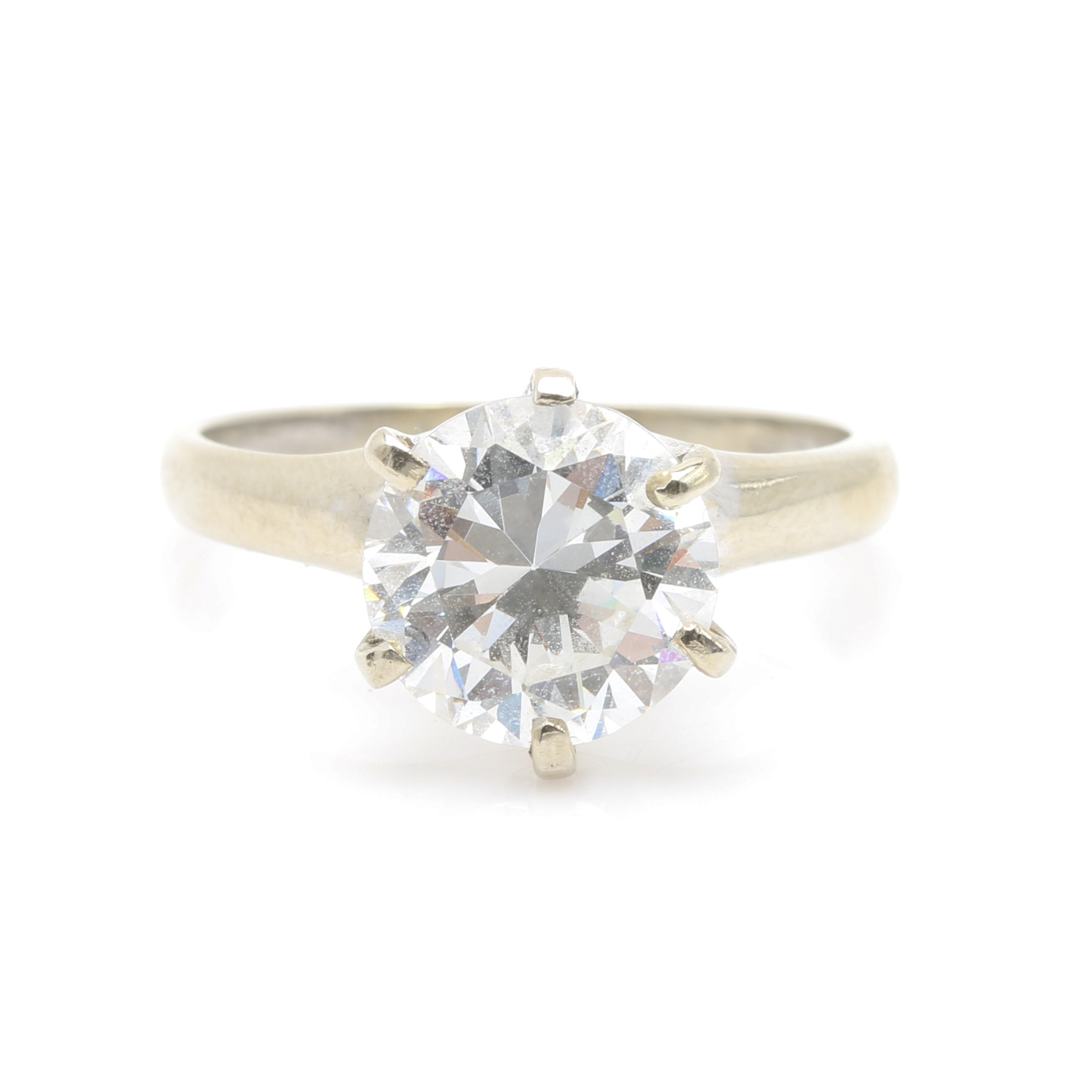 14K White Gold Cubic Zirconia Solitaire Ring