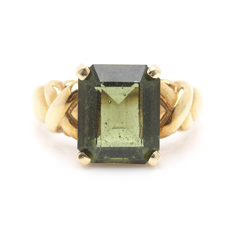 14K Yellow Gold Moldavite Ring