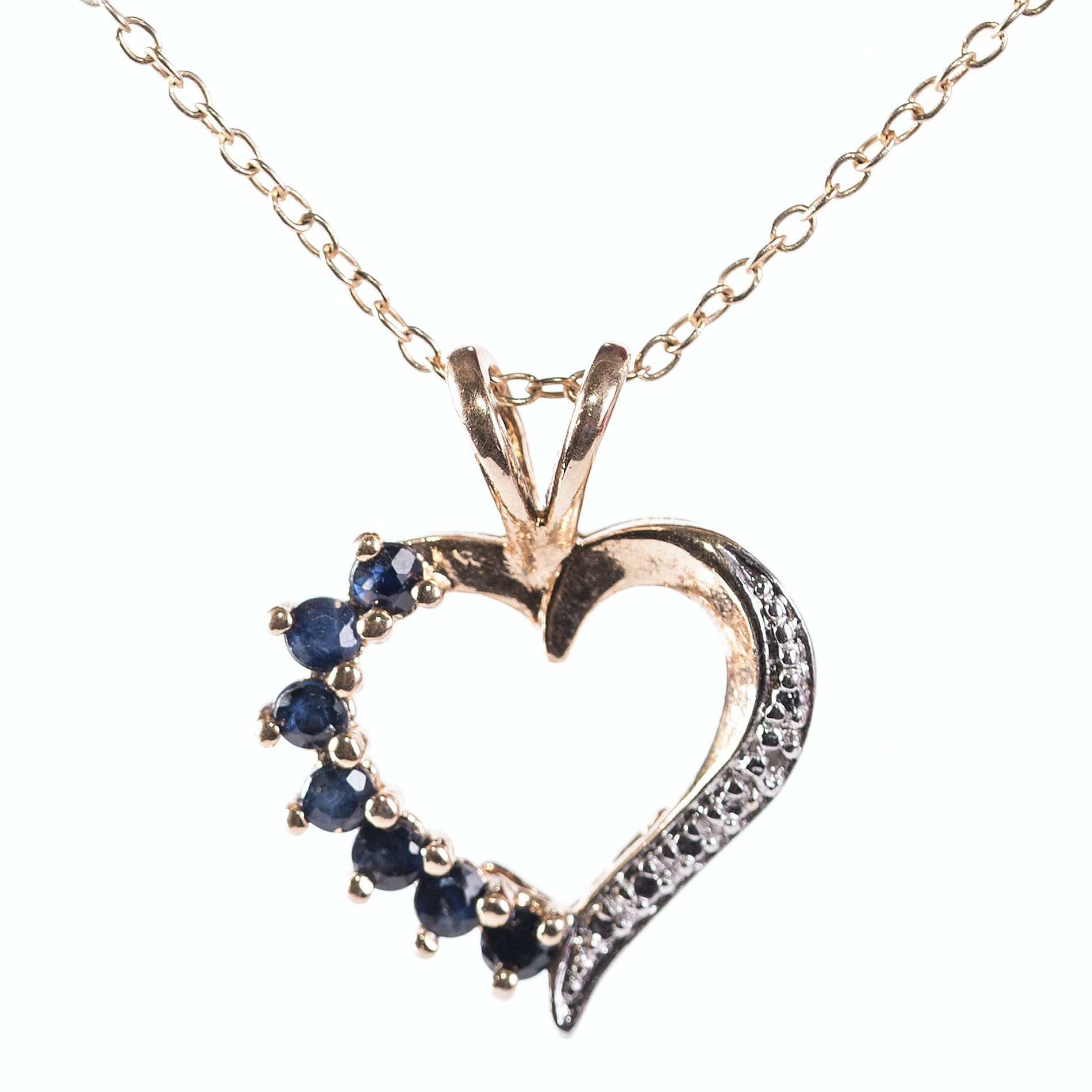 Sterling Silver Sapphire and Diamond Heart Necklace with Gold Wash