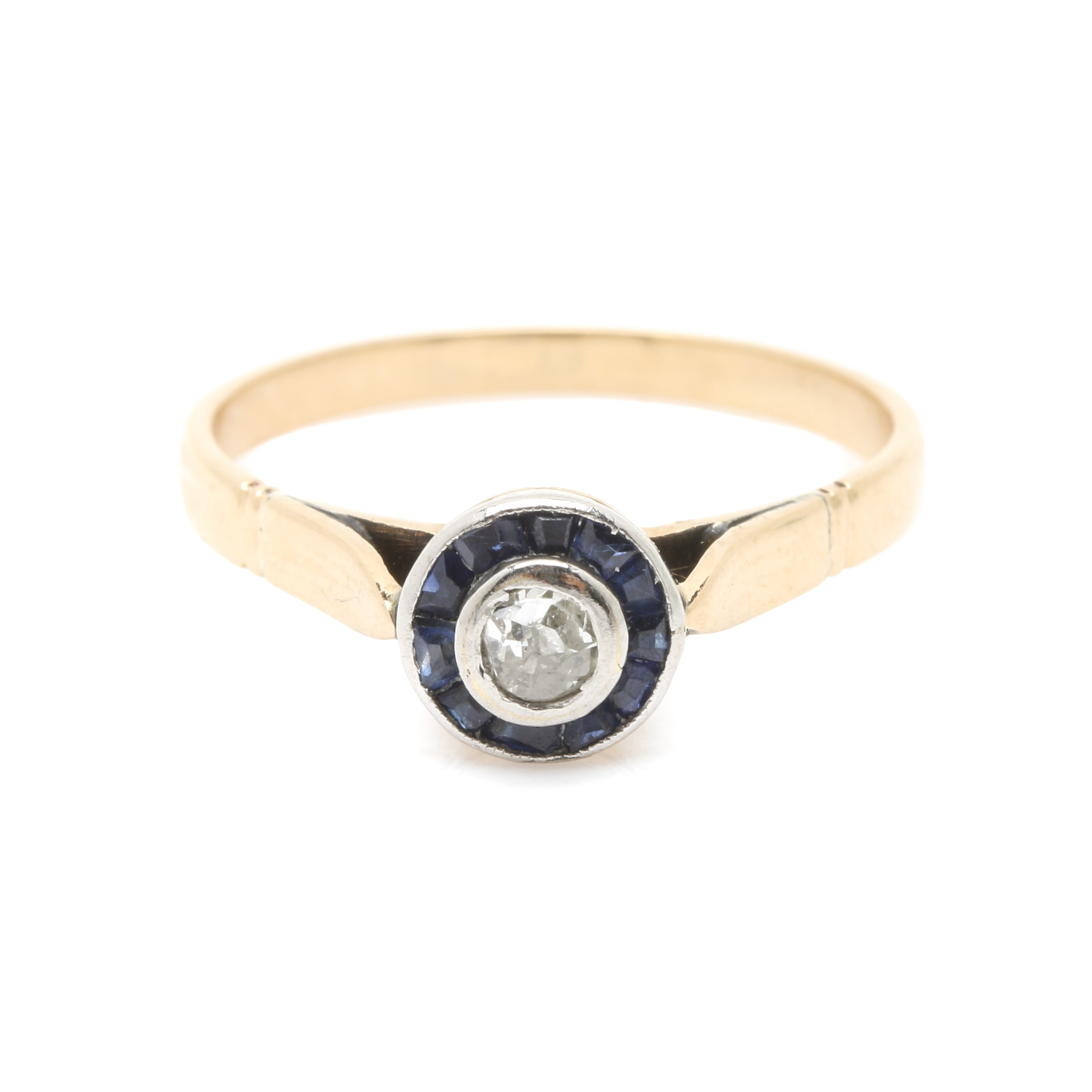 14K Yellow Gold Diamond and Sapphire Ring with Platinum Accents