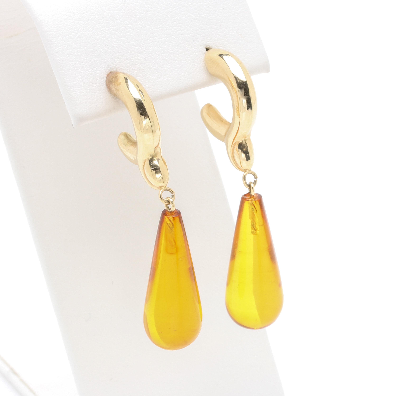 14K Yellow Gold Plastic Tear Drop Earrings
