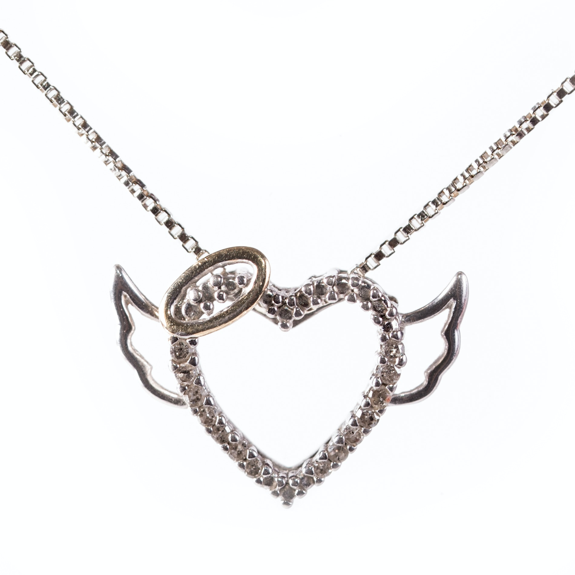 Sterling Silver Diamond Heart Pendant Necklace with Gold Wash