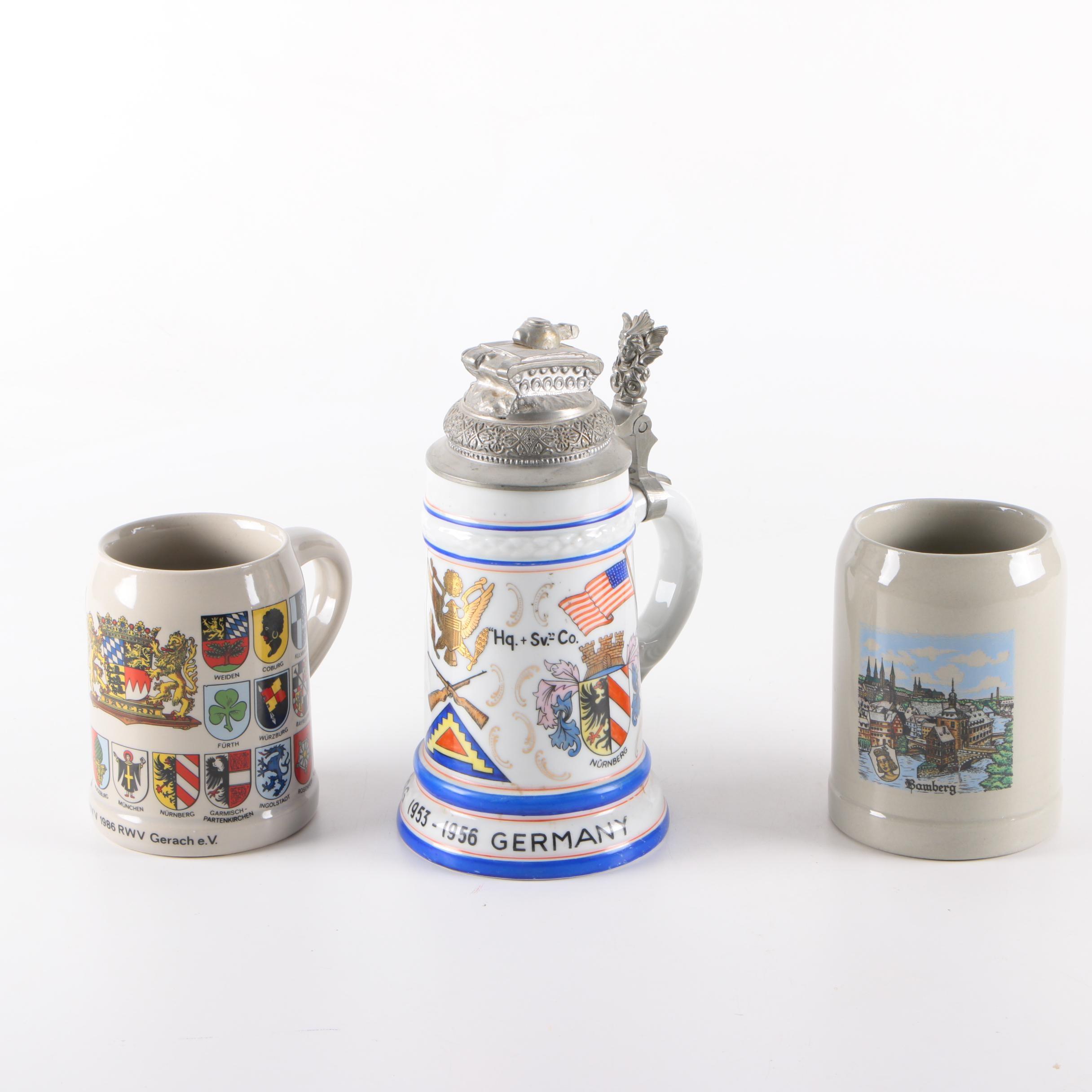 Ceramic Beer Stein and Mugs