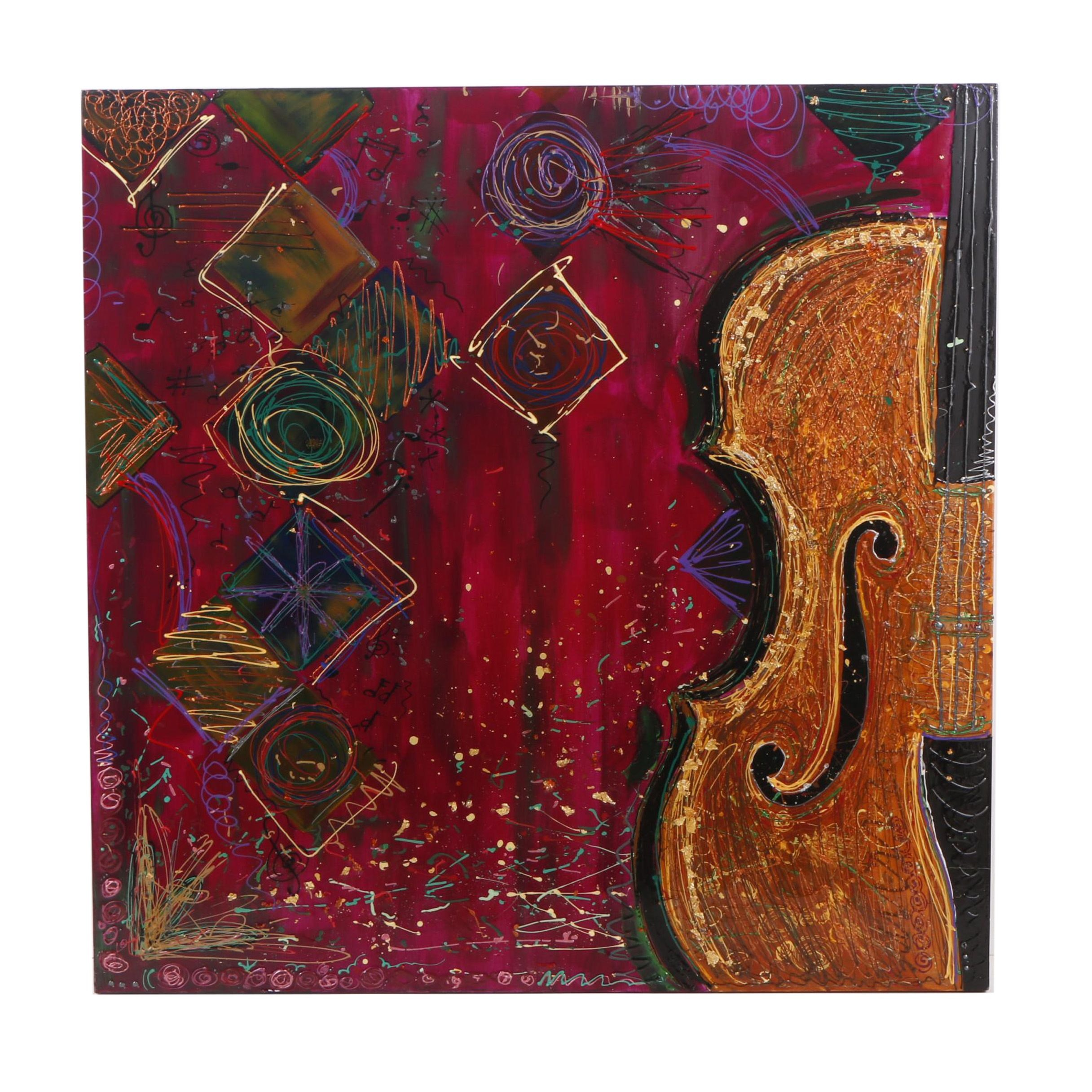Decorative Mixed Media Painting of Violin