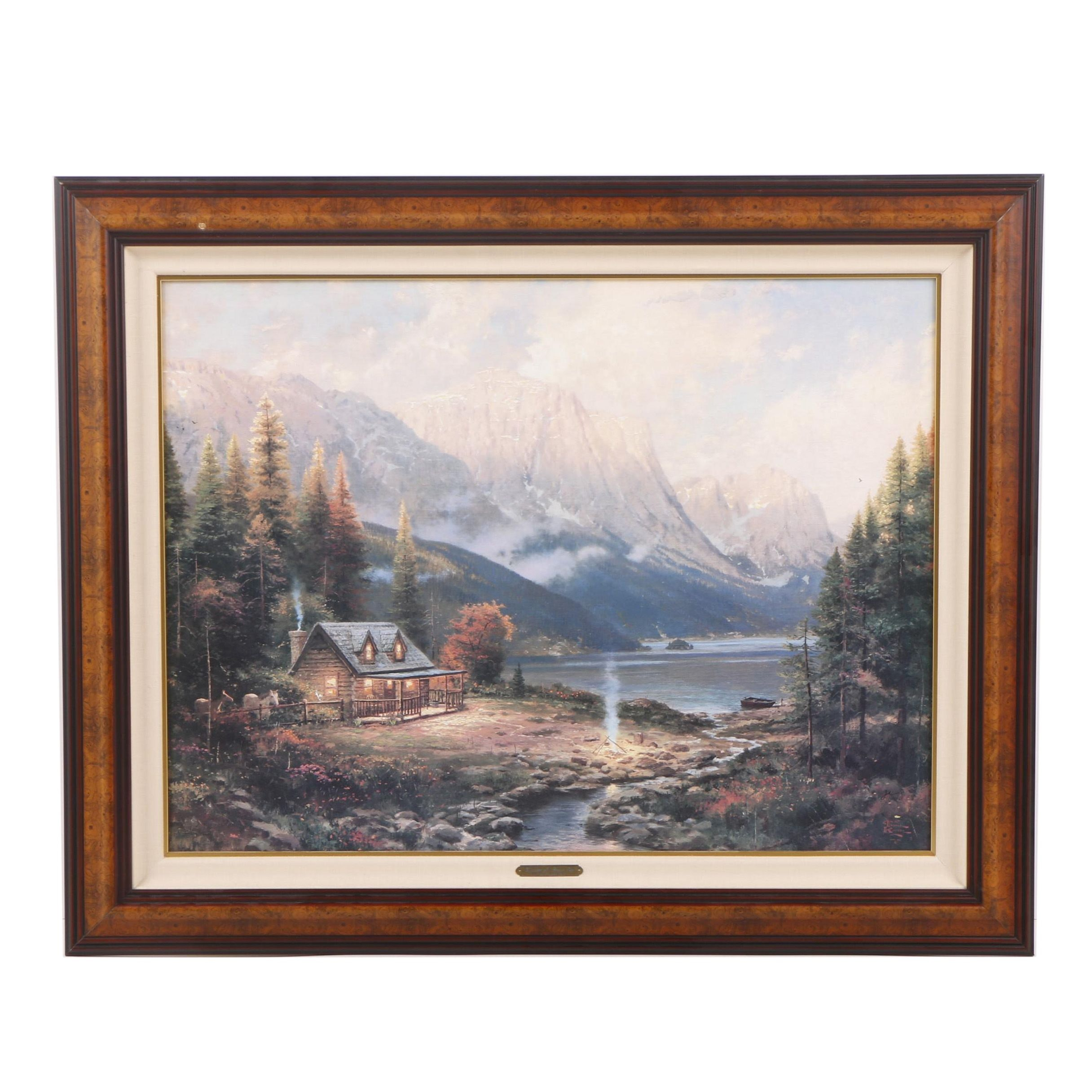 "Offset Lithograph After Thomas Kinkade's Painting ""Beginning of a Perfect Day"""