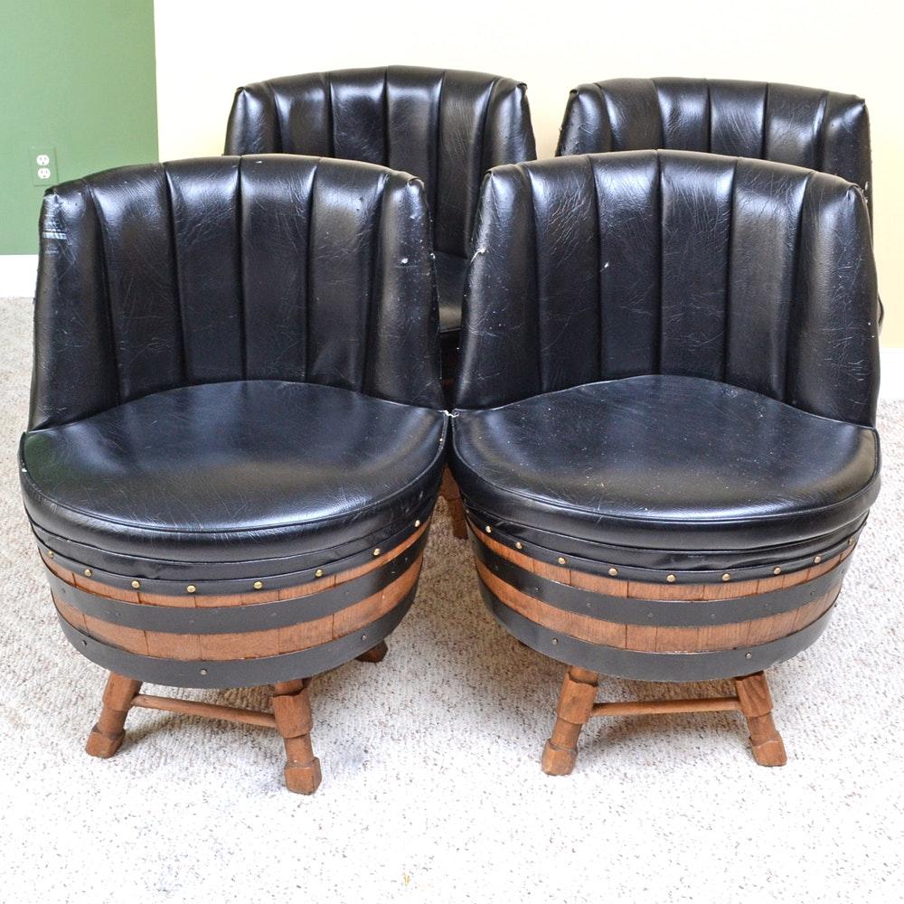 Set of Oak Barrel Chairs
