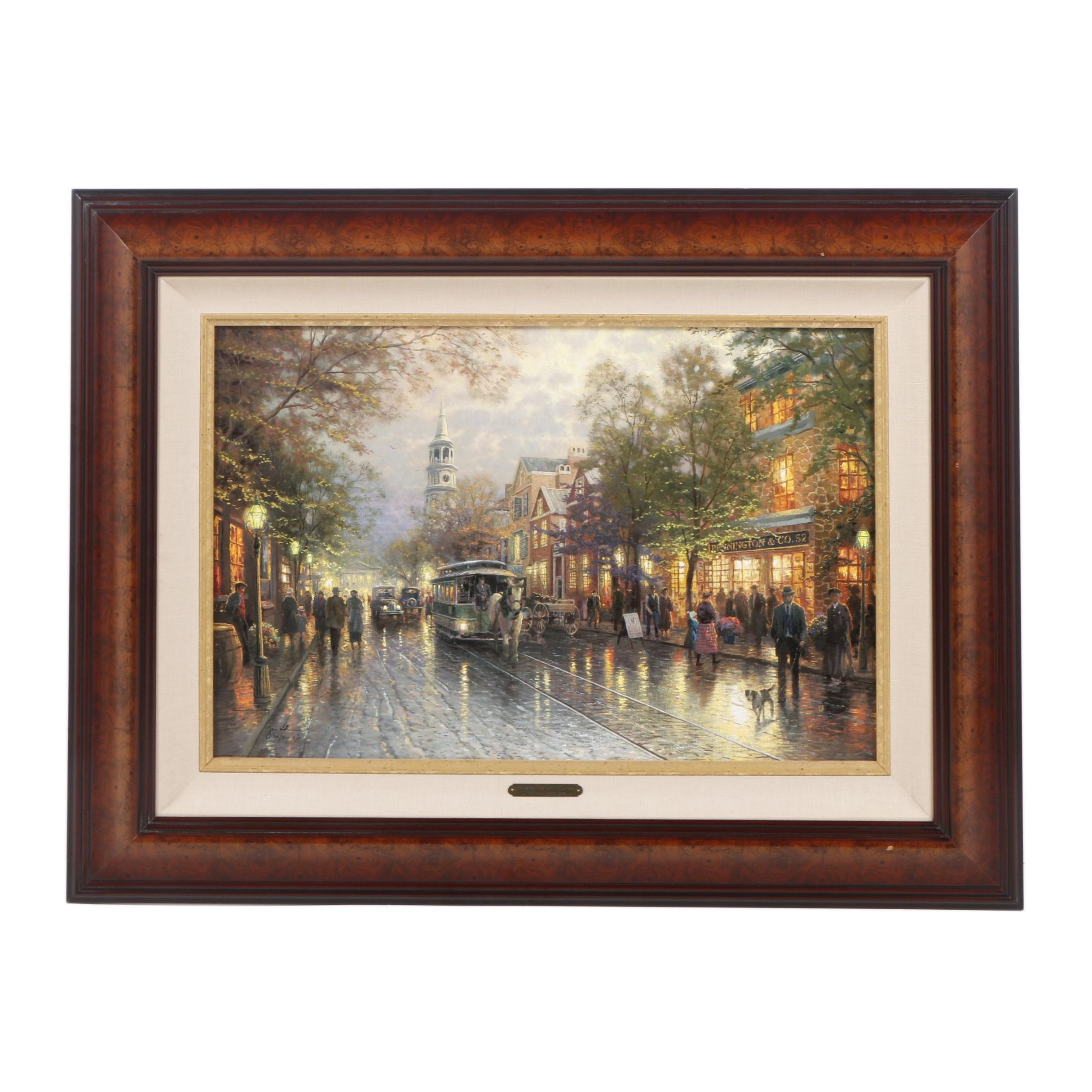"""Giclee Print After Thomas Kinkade's """"Evening On The Avenue"""""""