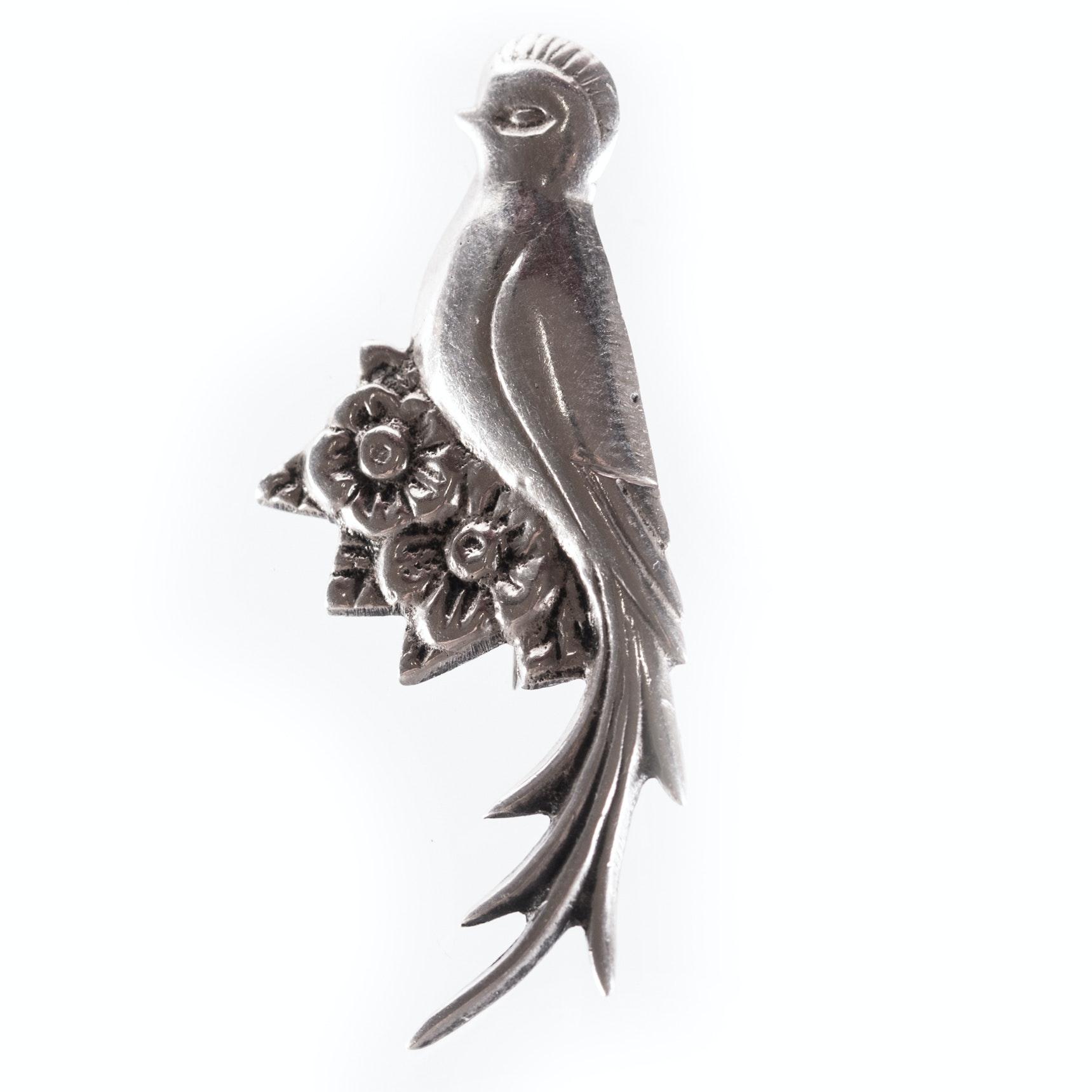 Sterling Silver Bird and Flower Brooch