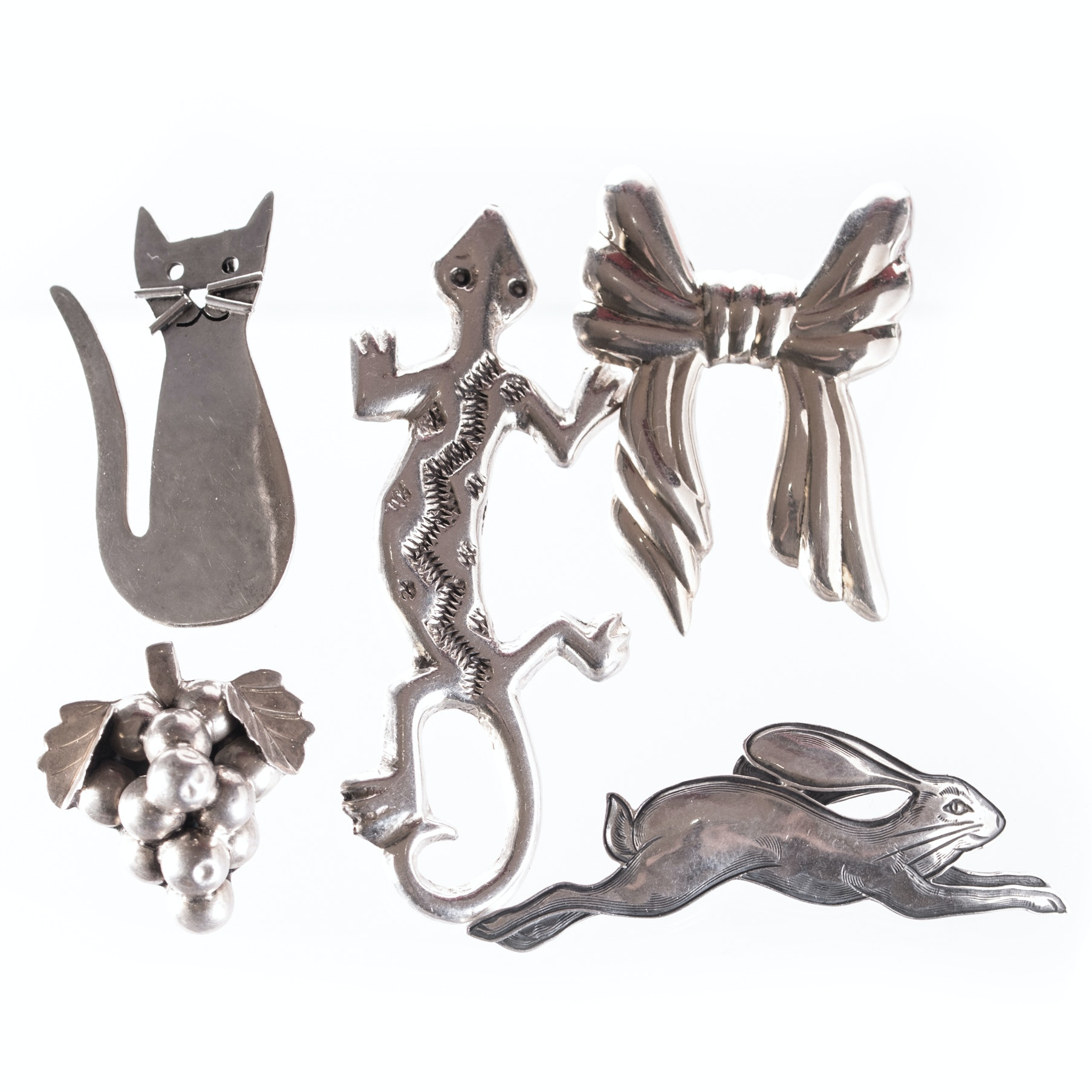 Assortment of Sterling Silver Brooches