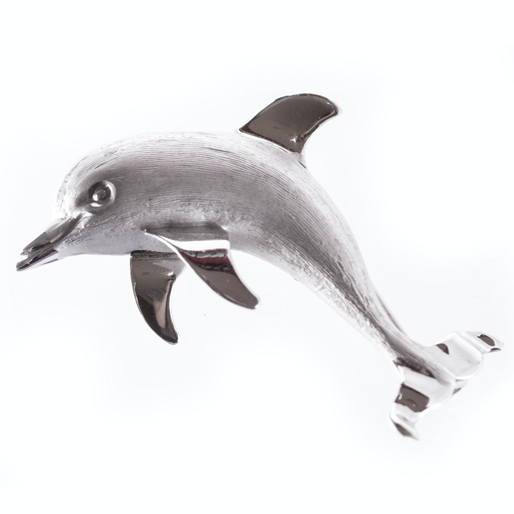 Sterling Silver Jumping Dolphin Brooch