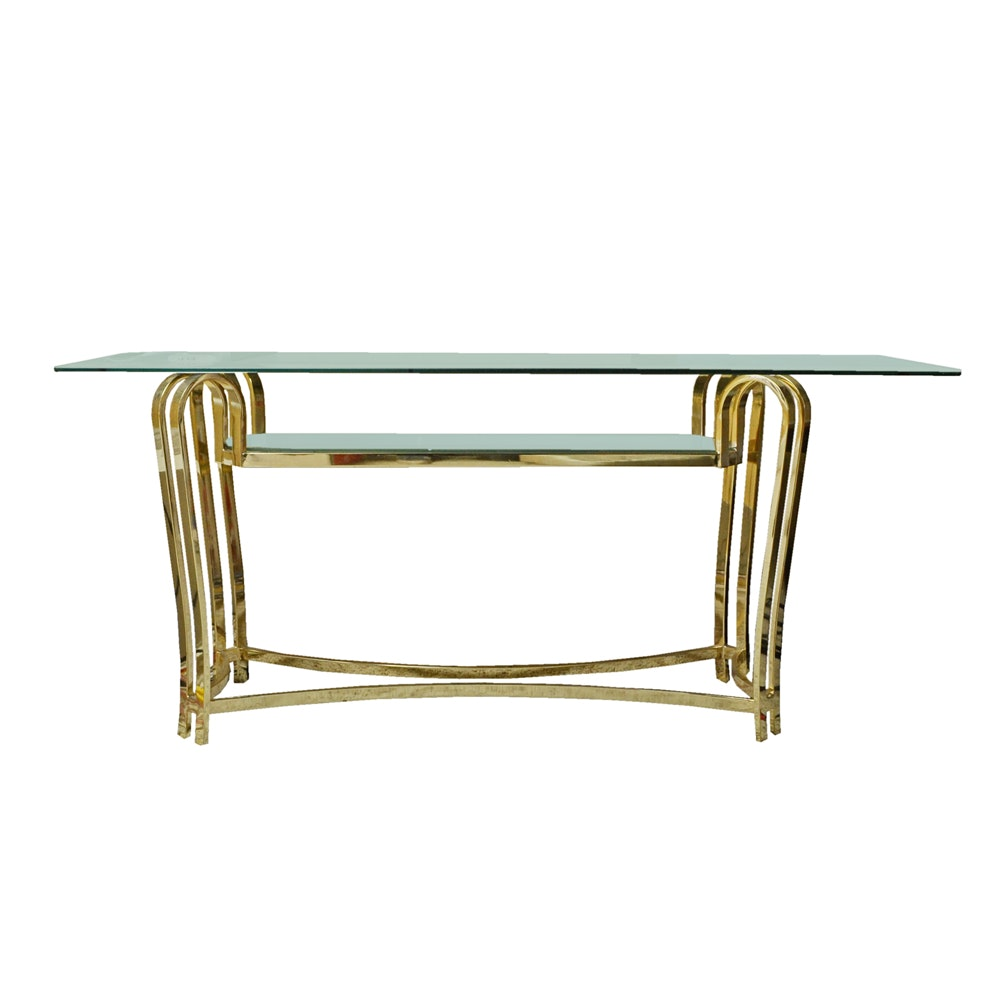 Brass and Glass Television Console Table