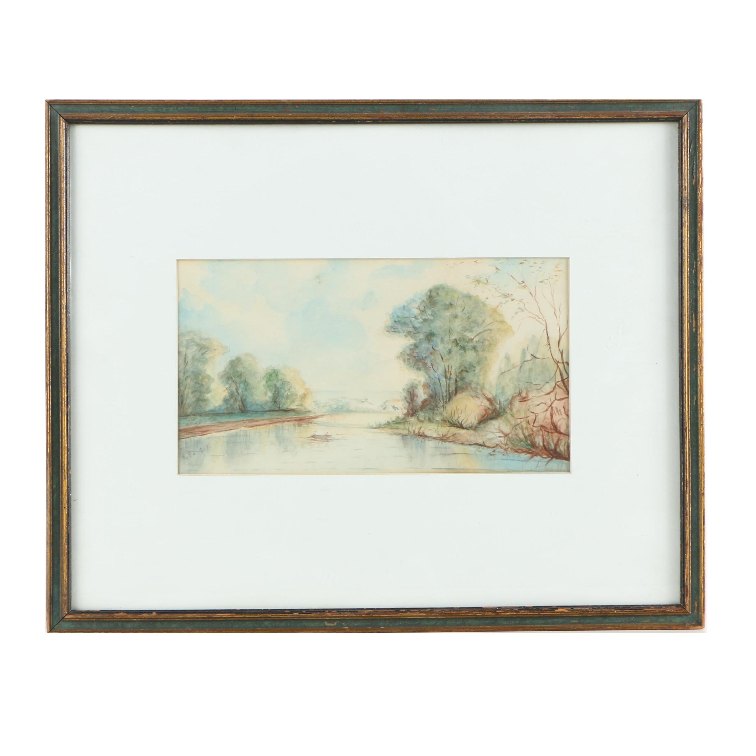 R. Foster Watercolor Painting of a Serene River