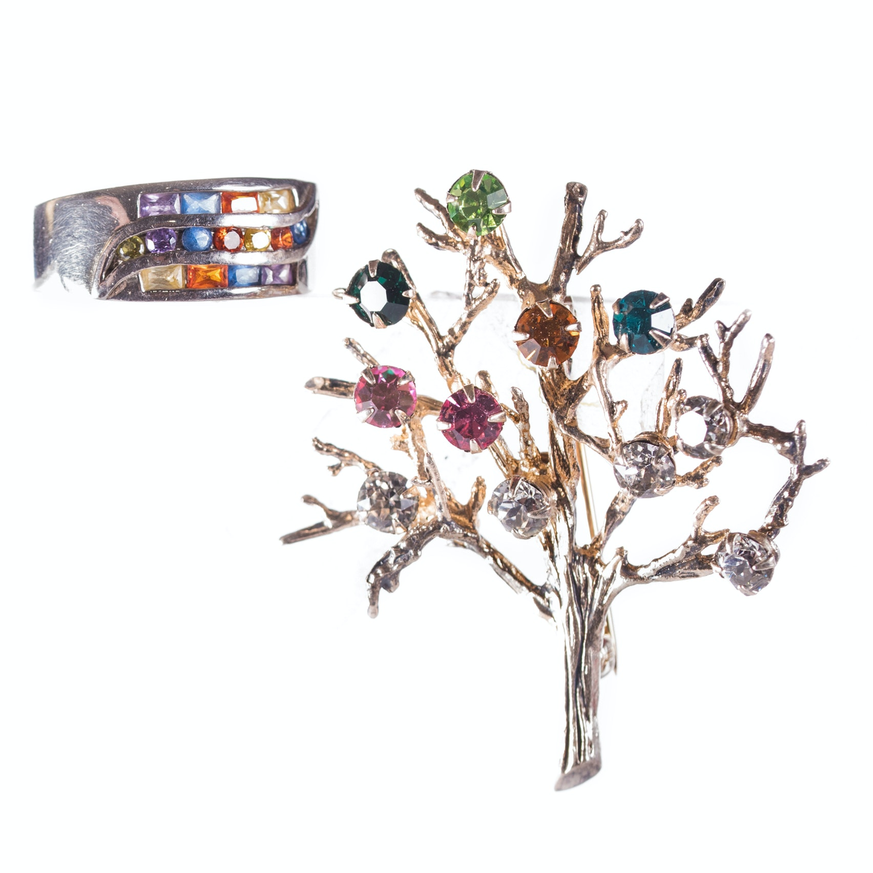 Sterling Silver Multi-color Band and Brooch with a Gold Wash