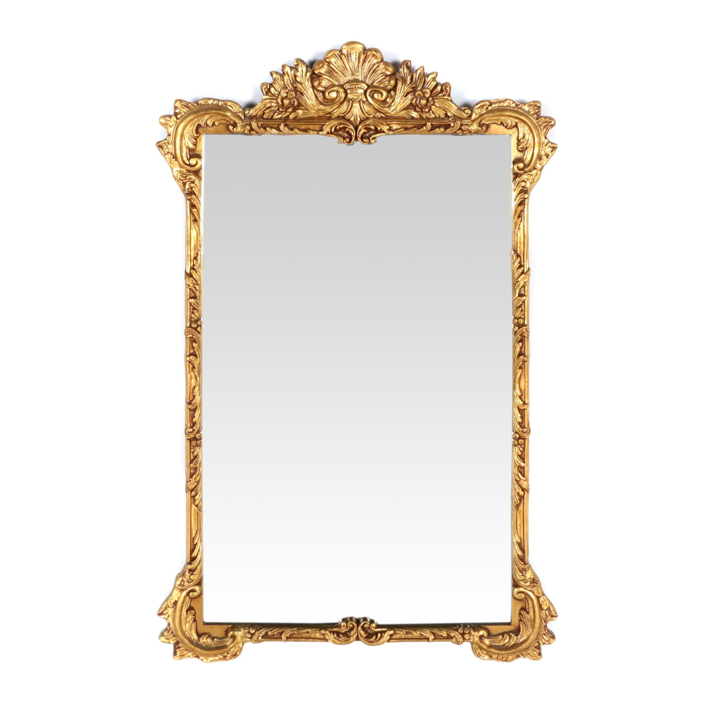 Gold Tone Wooden Wall Mirror