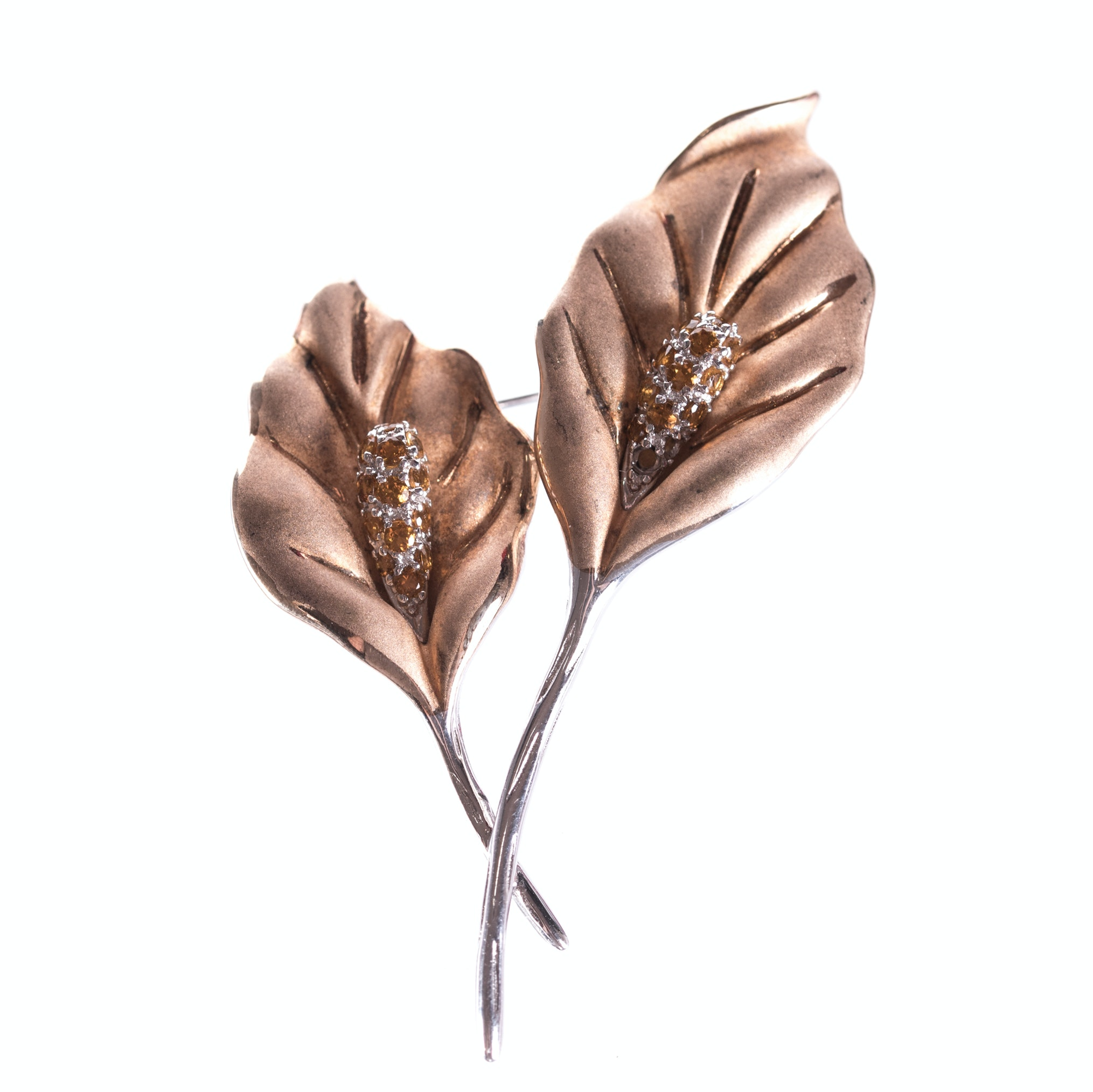 Sterling Silver Citrine Leaf Brooch with Gold Wash