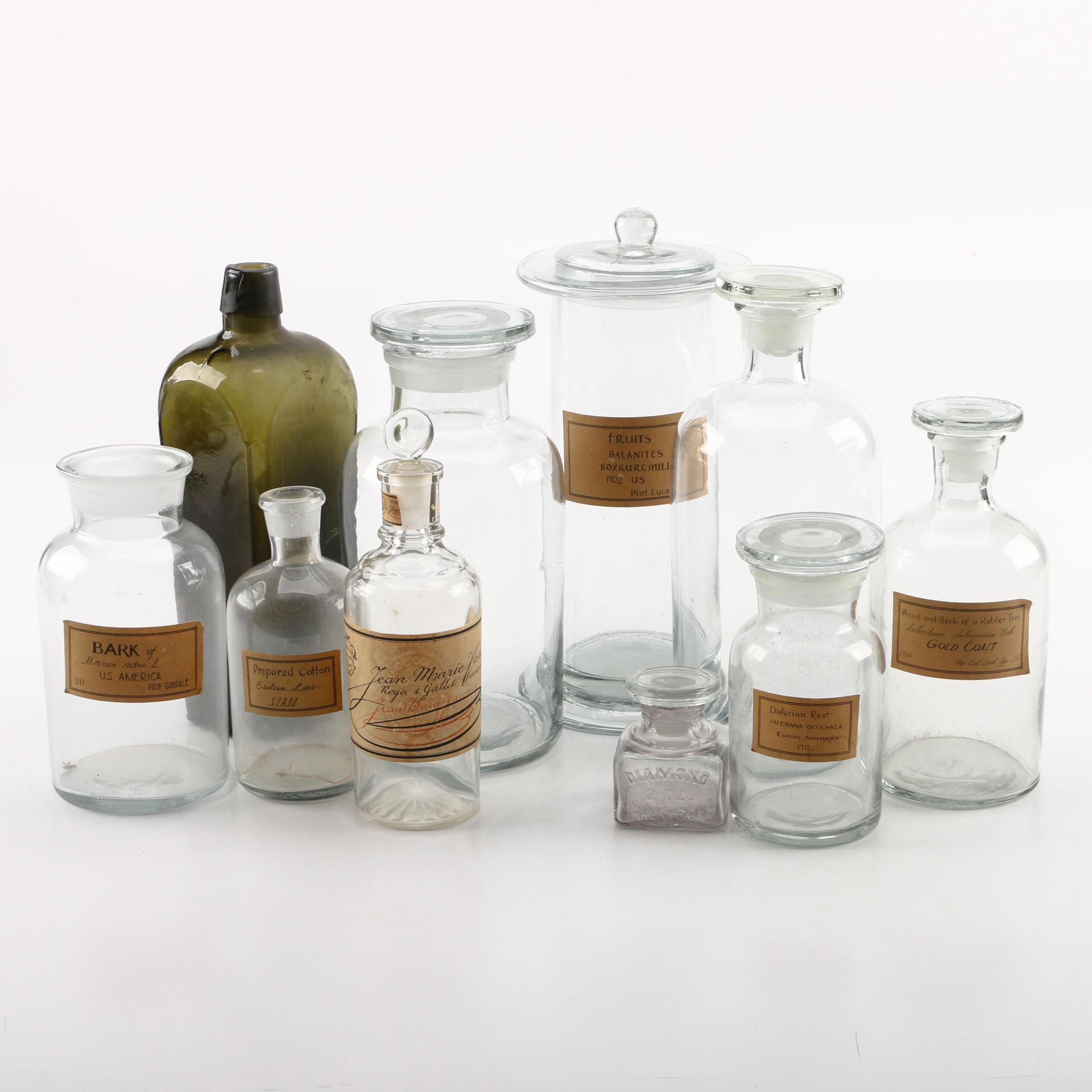 Vintage Apothecary, Perfume and Ink Bottles