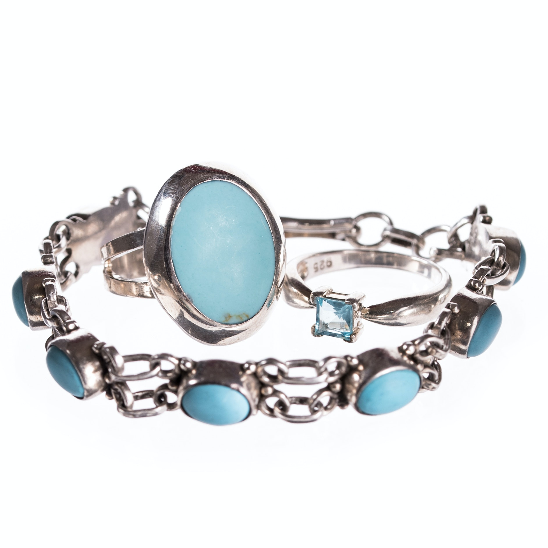 Sterling Silver Simulated Turquoise Ring, Bracelet and Blue Glass Ring