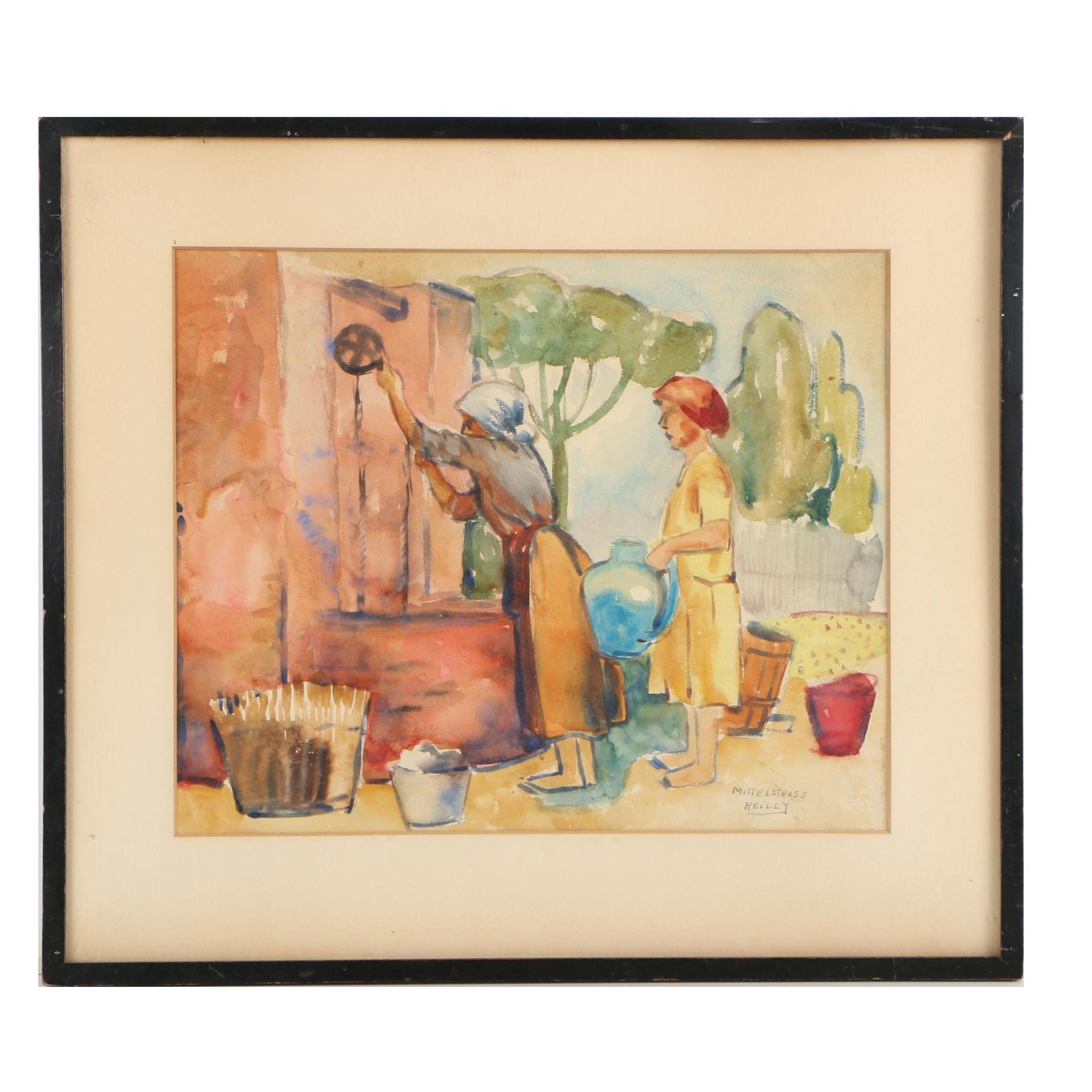 Watercolor Painting of Women at a Well