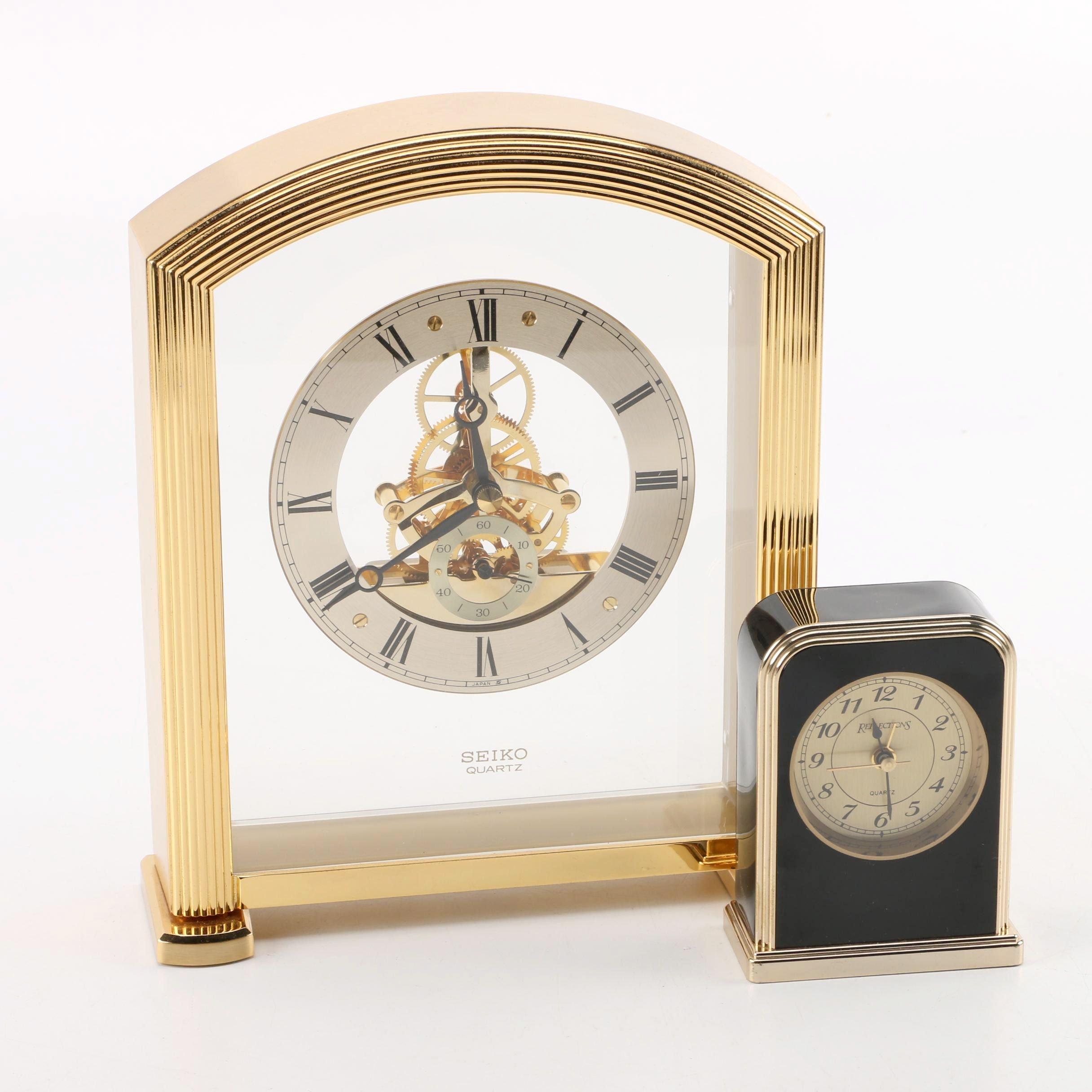 Seiko and Reflections Quartz Shelf Clocks