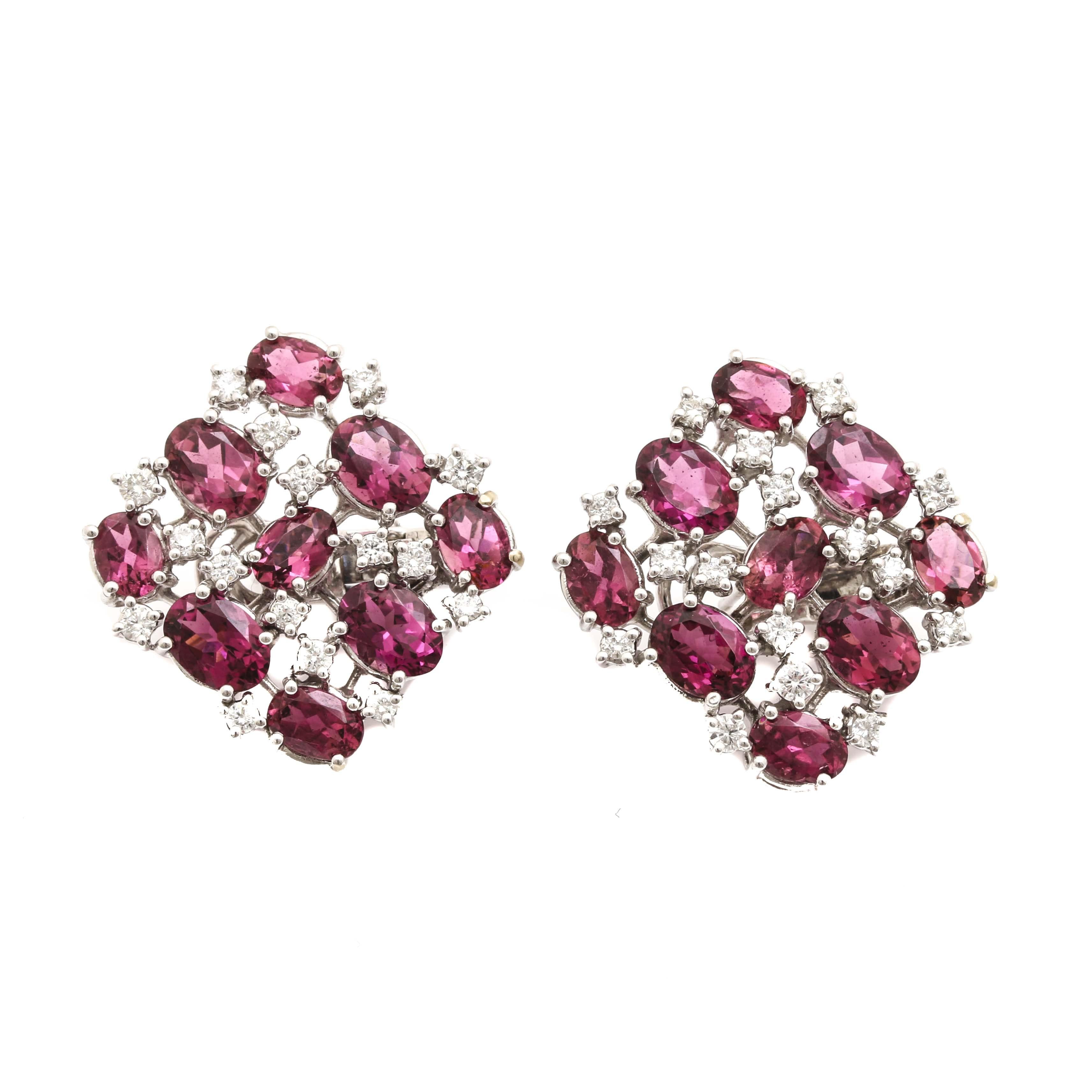 18K White Gold Pink Tourmaline and Diamond Earrings